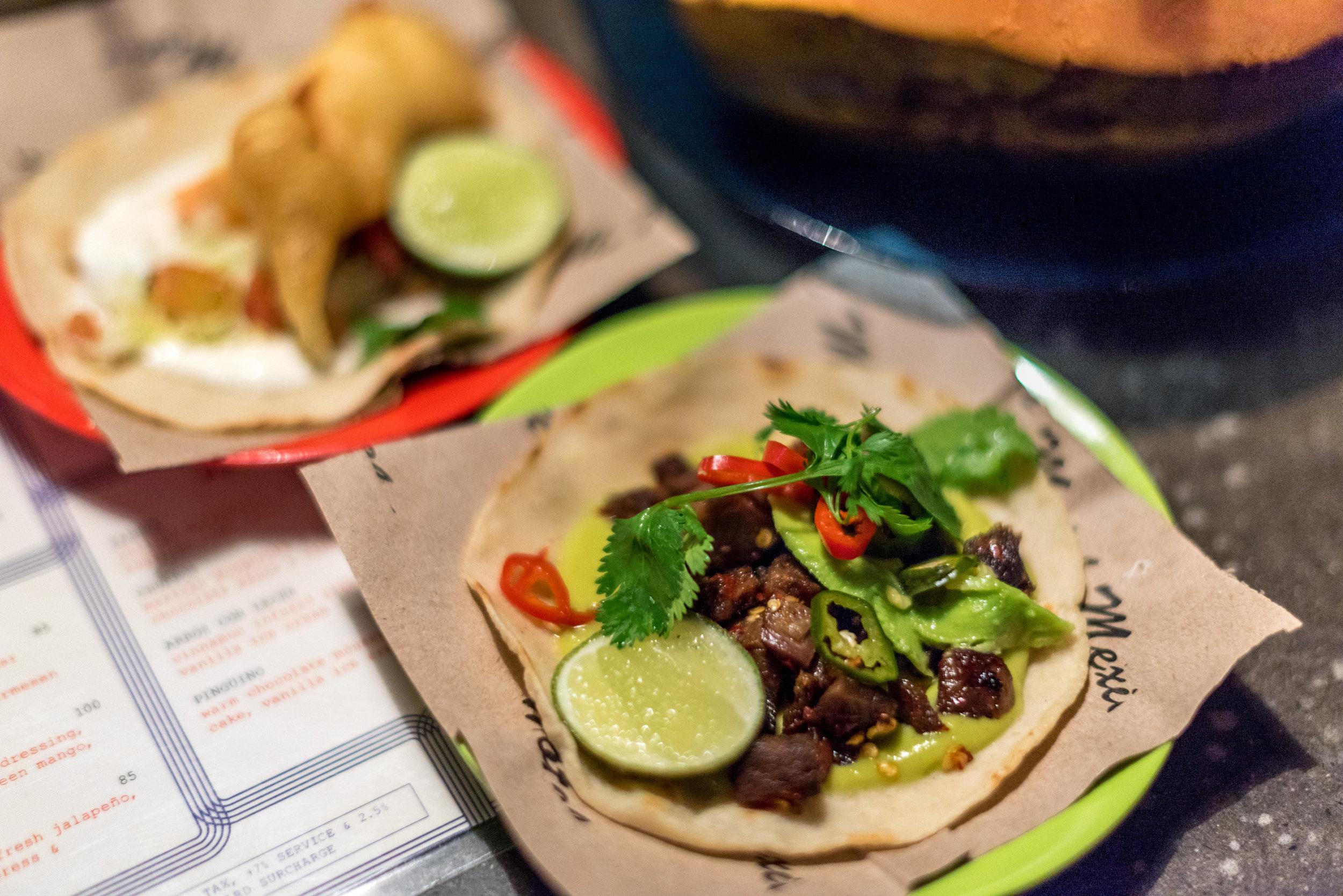 Beef Tongue and Fish Taco  Motel Mexicola