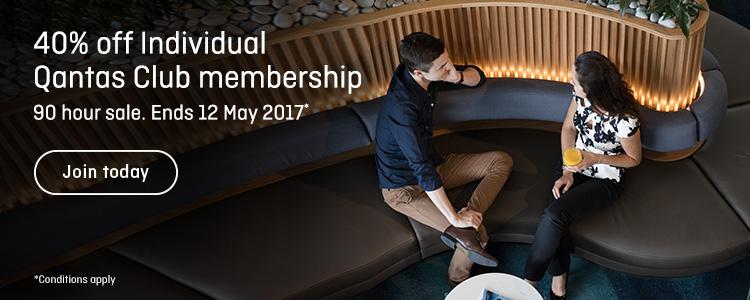 40% off Qantas Club Membership (Individual)   Photo Credit: Qantas