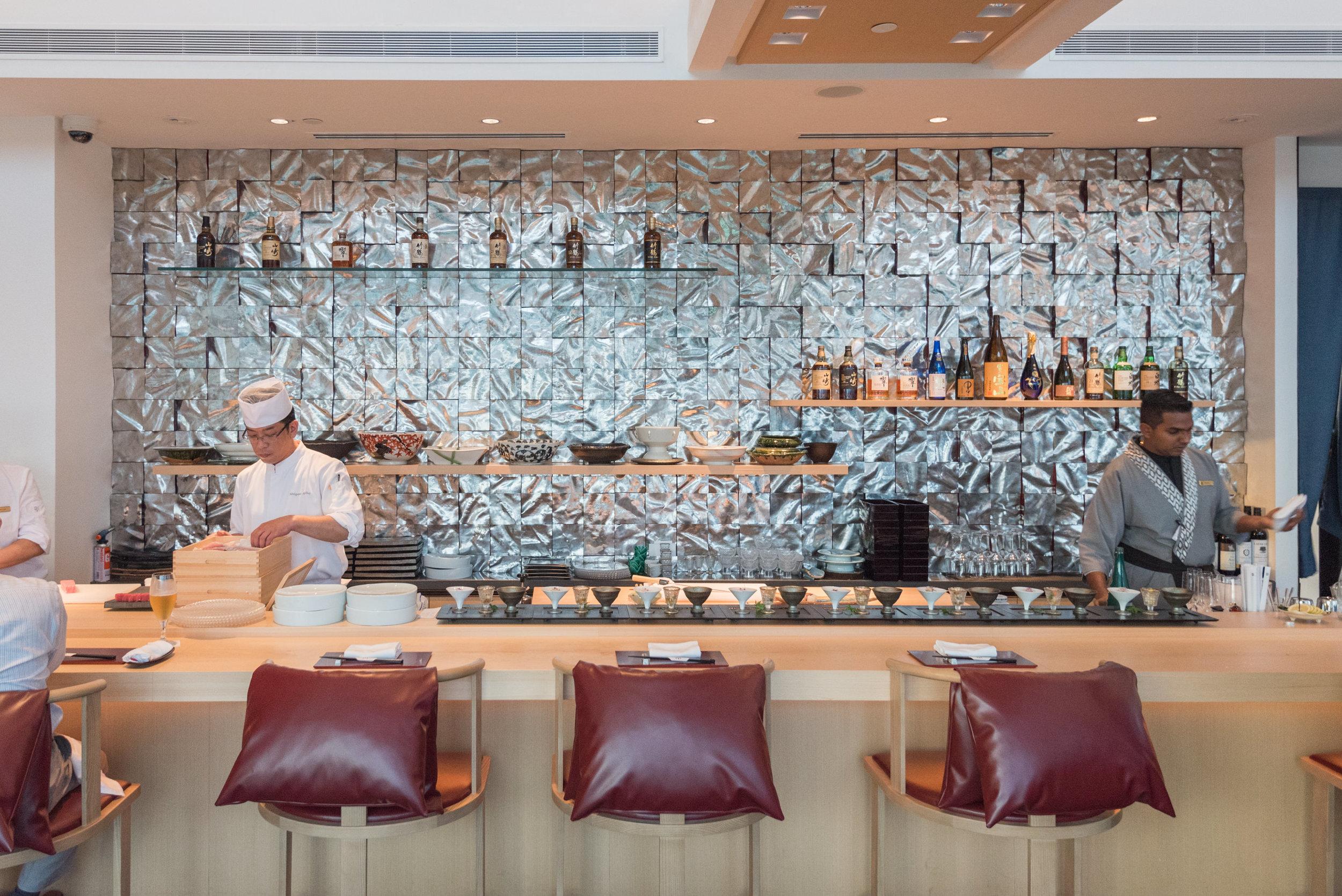 Chef Akiba at the Sushi Counter  NAMI - Shangri-La Hotel, Singapore