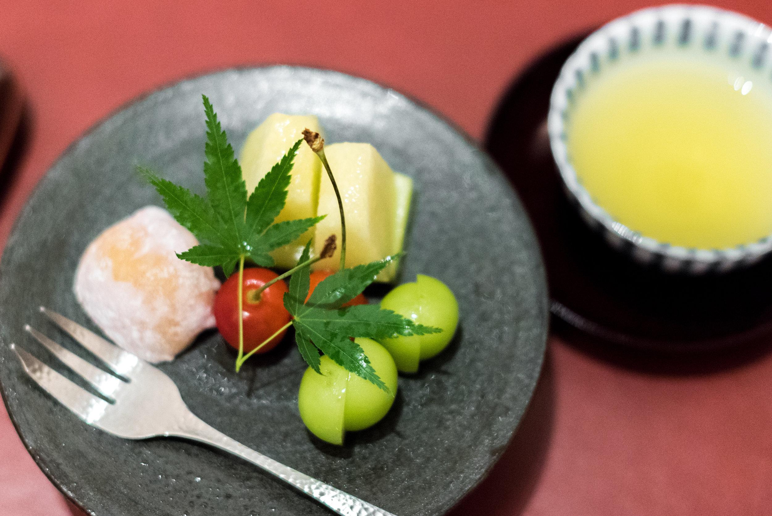 Dessert -   Cream Cheese Daifuku Mochi and Seasonal Japanese Fruits  NAMI - Shangri-La Hotel, Singapore