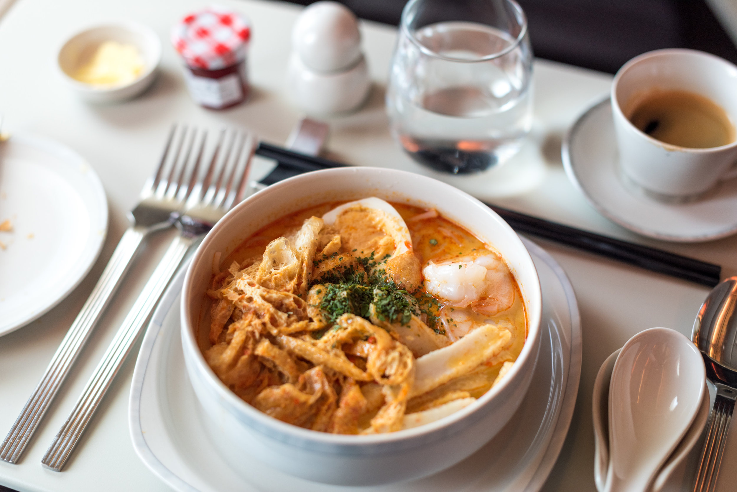 Laksa - Brunch Service  Singapore Airlines SQ802 Business - SIN to PEK