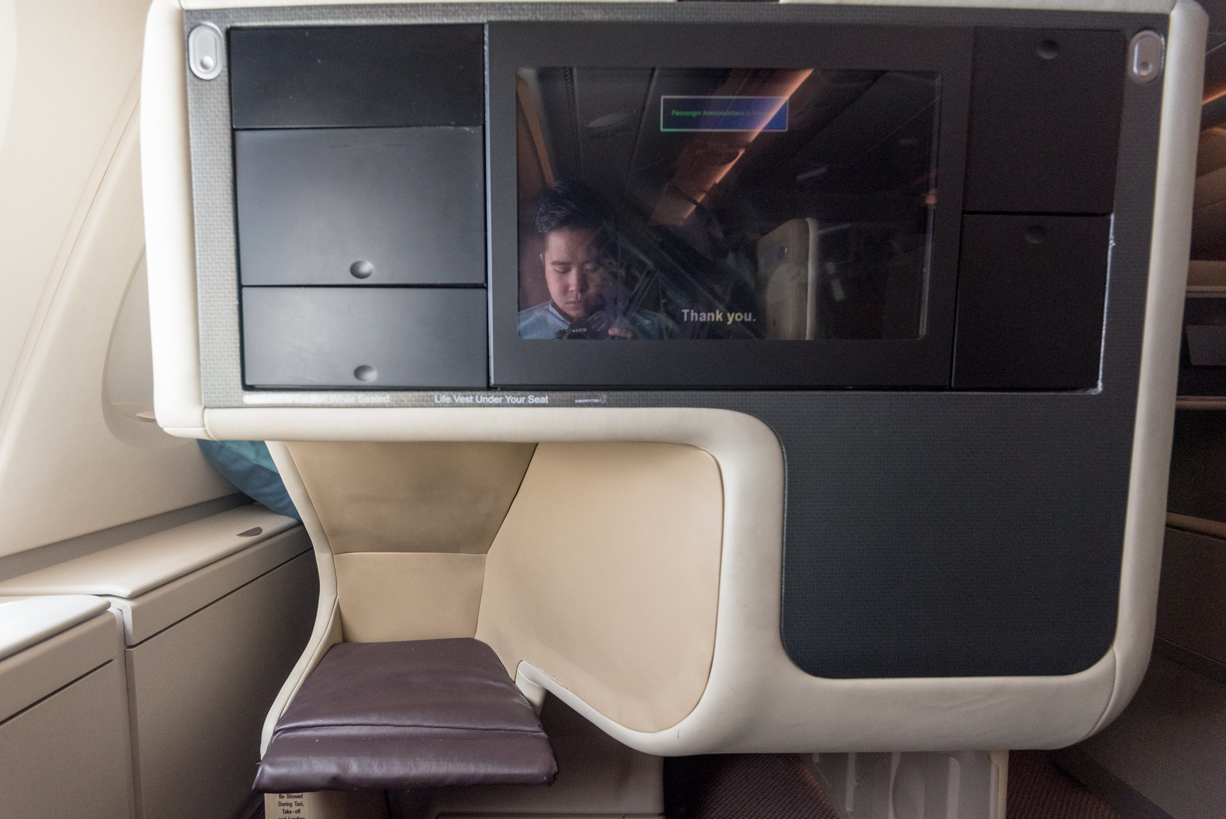 Seat 14A  Singapore Airlines SQ802 Business - SIN to PEK