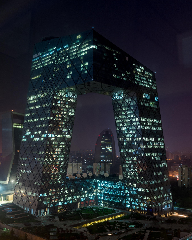 Night View of CCTV Headquarters from the Room  Jen Skyline - Hotel Jen Beijing