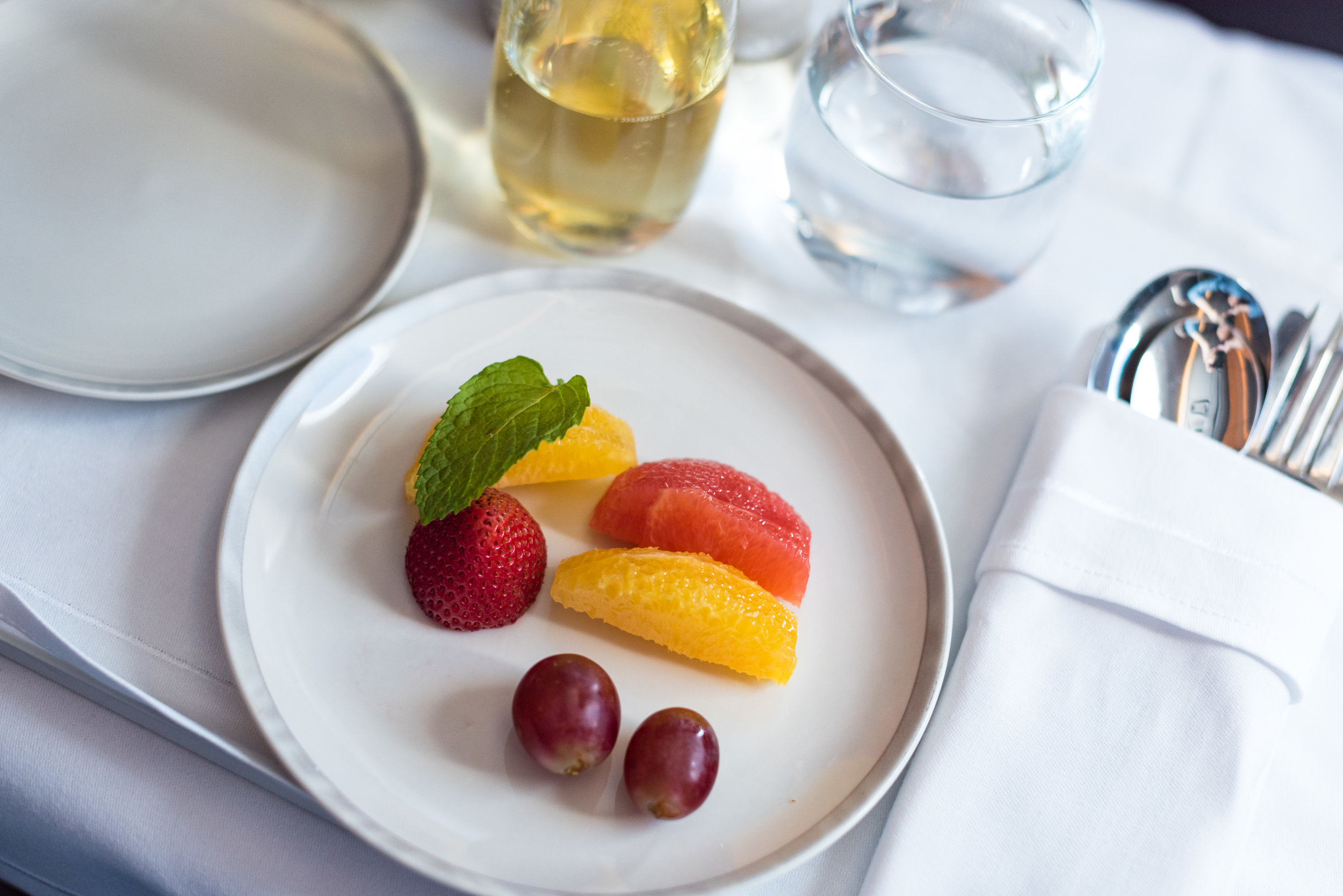Selection of Sliced Fresh Fruits - Brunch Service  Singapore Airlines SQ856 Business - SIN to HKG