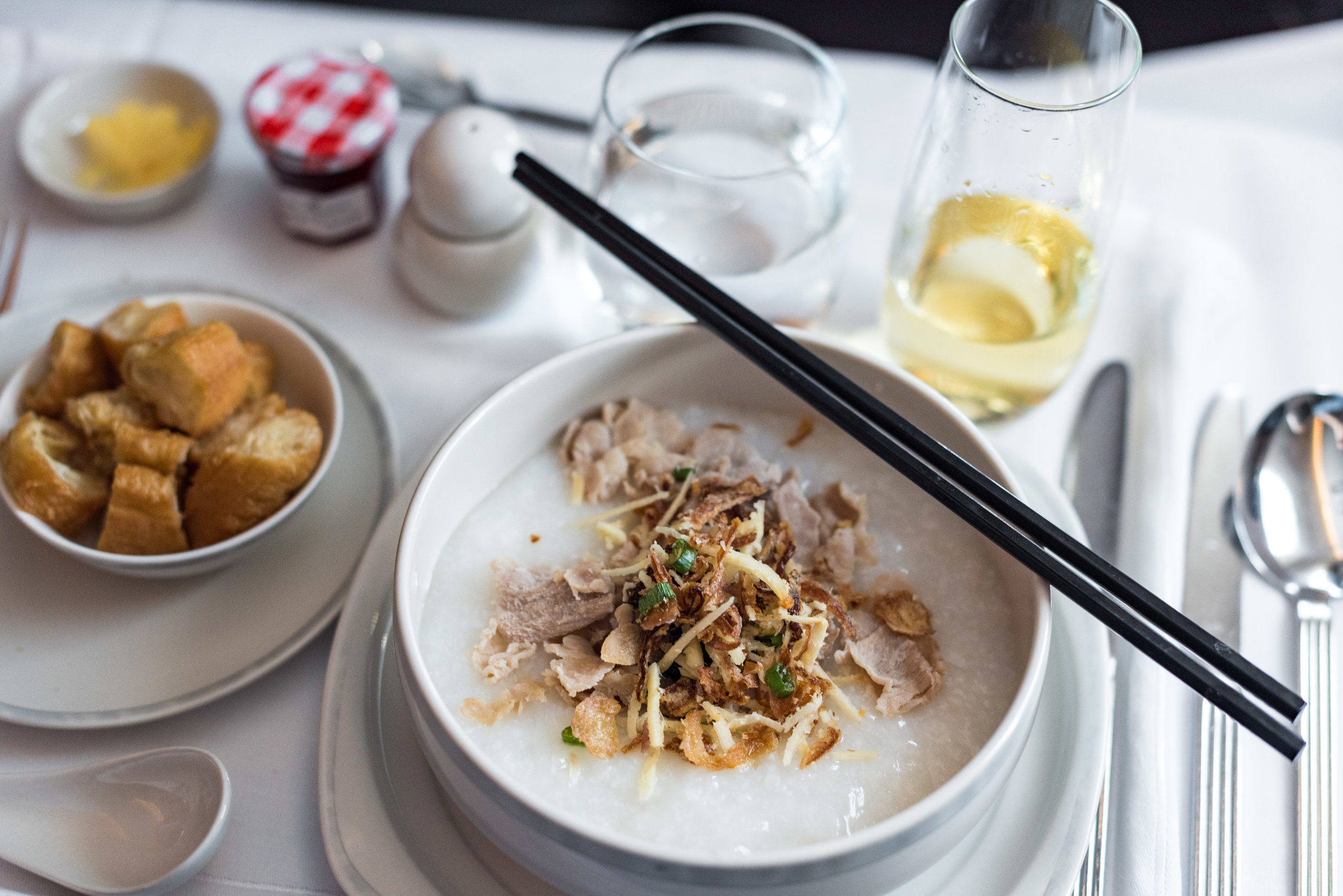 Pork and Century Egg Congee - Brunch Service  Singapore Airlines SQ856 Business - SIN to HKG