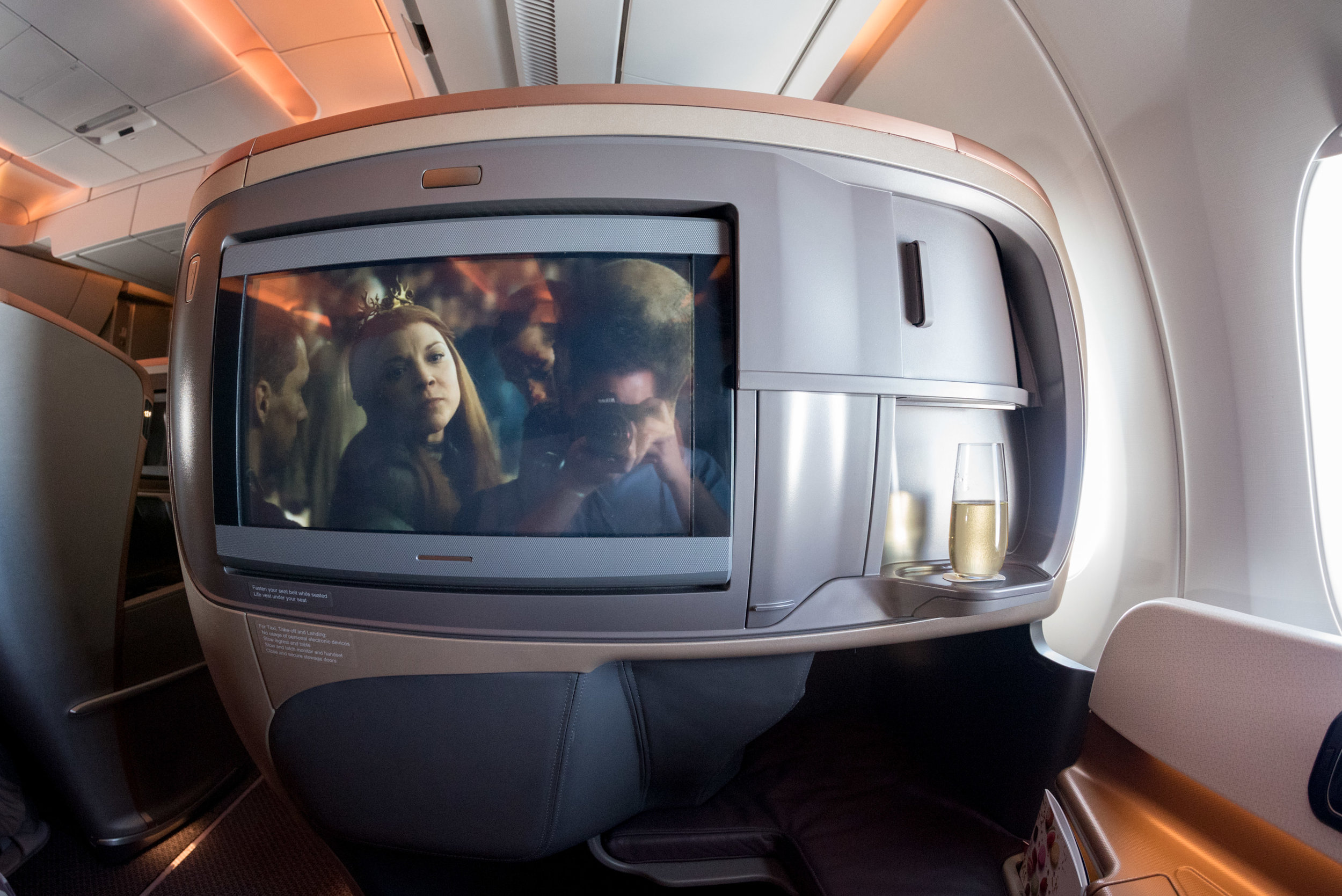 18-inch LCD Screen in Business Class  Singapore Airlines SQ856 Business - SIN to HKG