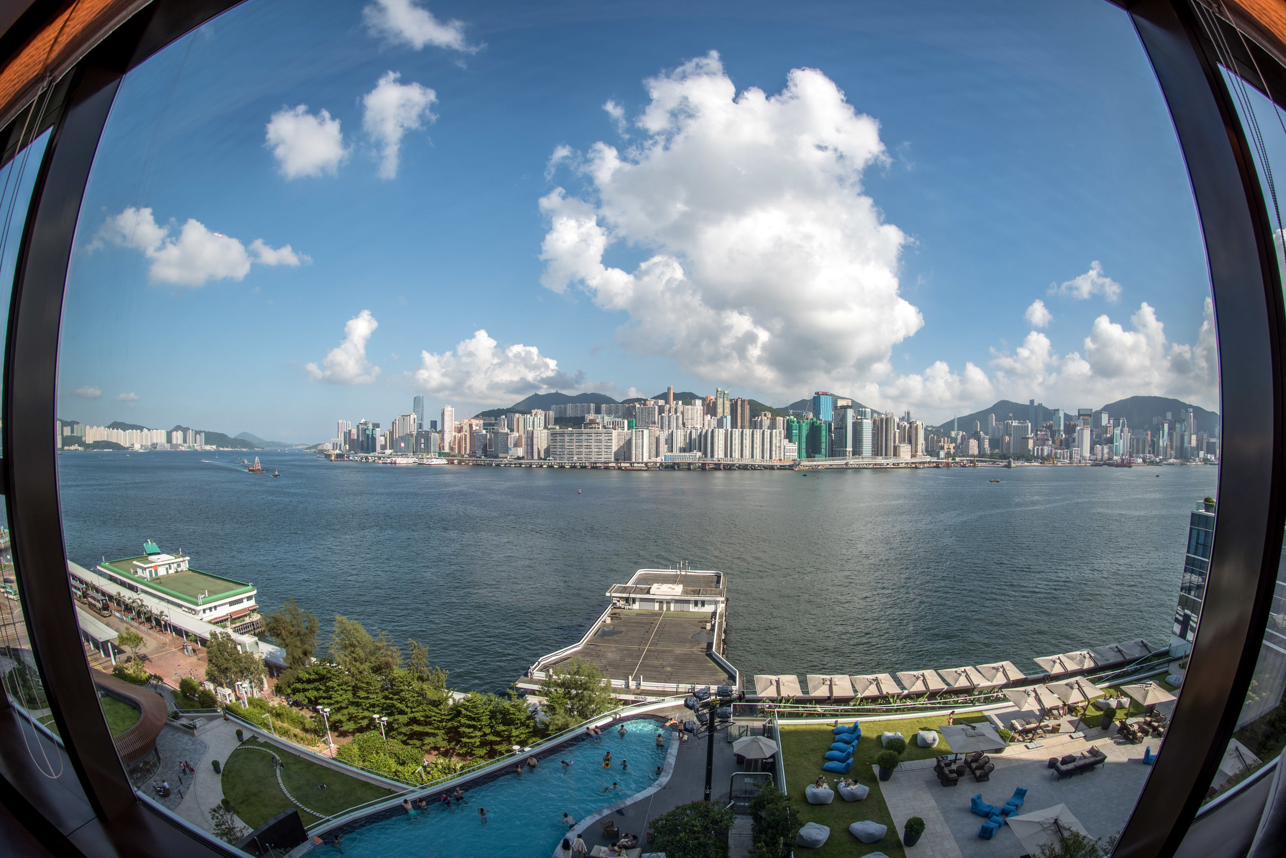 View from the Bedroom  Club Premier Sea View Room - Kerry Hotel, Hong Kong