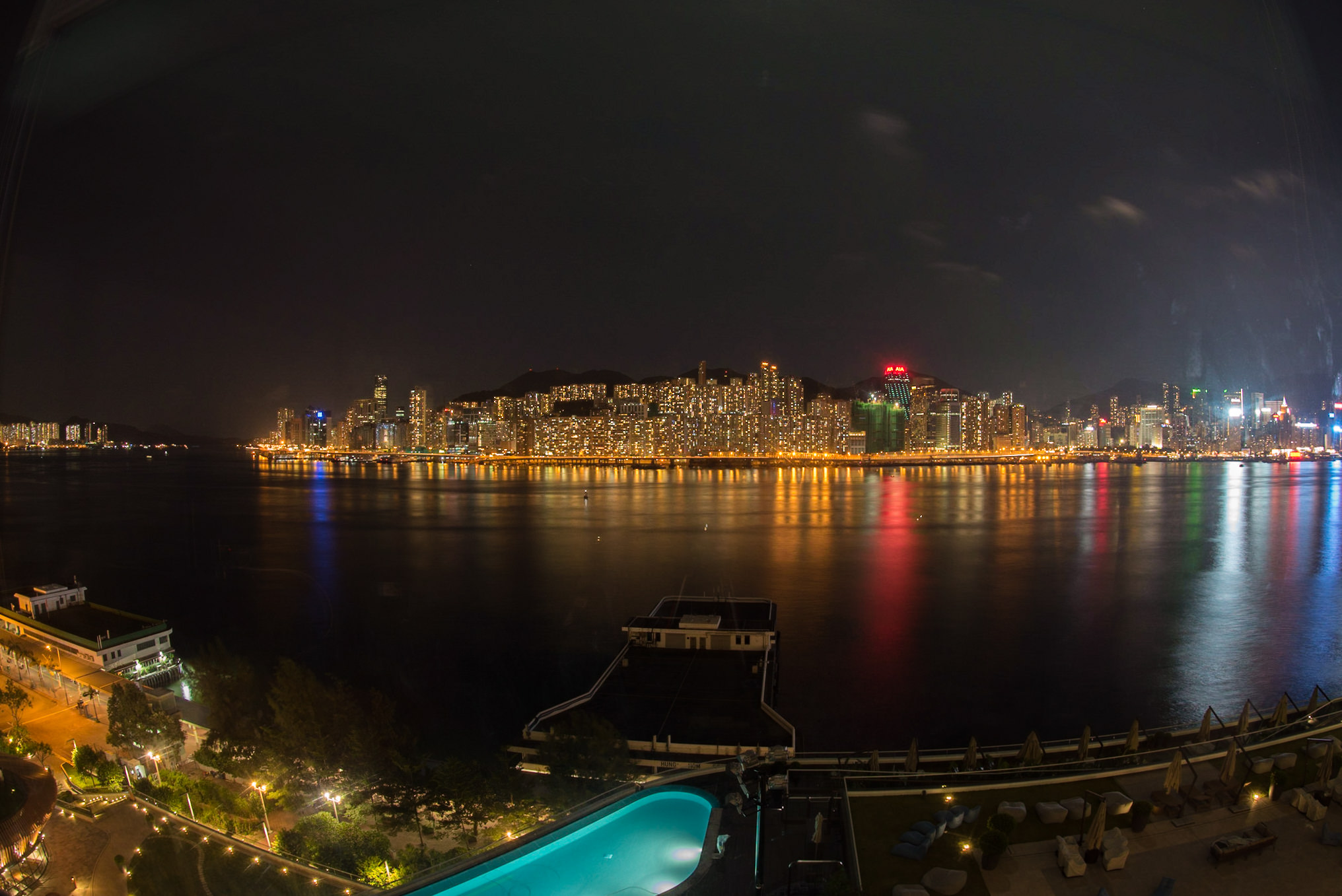 View from the Room at Night  Club Premier Sea View Room - Kerry Hotel, Hong Kong