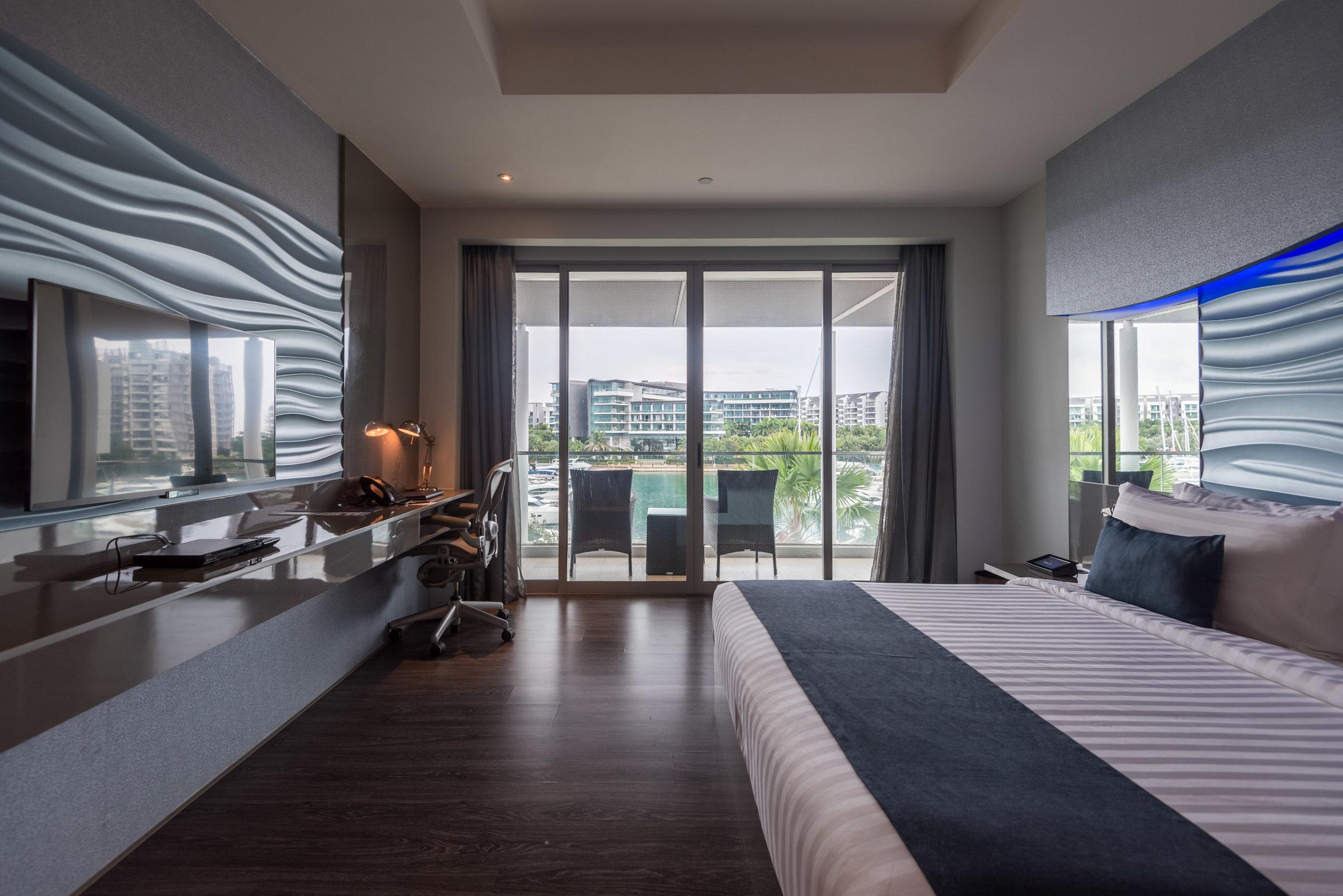 Bedroom with View of Marina  Marina View Room - ONE°15 Marina Club