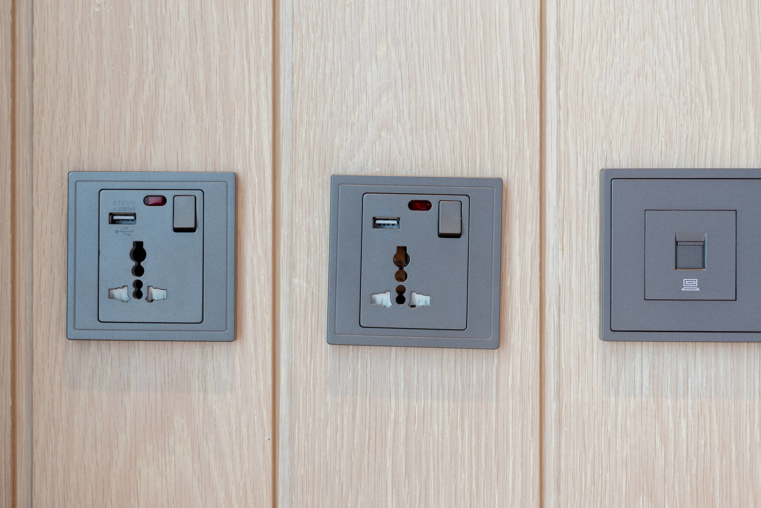Universal Power Outlets and USB Charging Ports  King Deluxe Room with Balcony - Hilton Garden Inn Singapore Serangoon