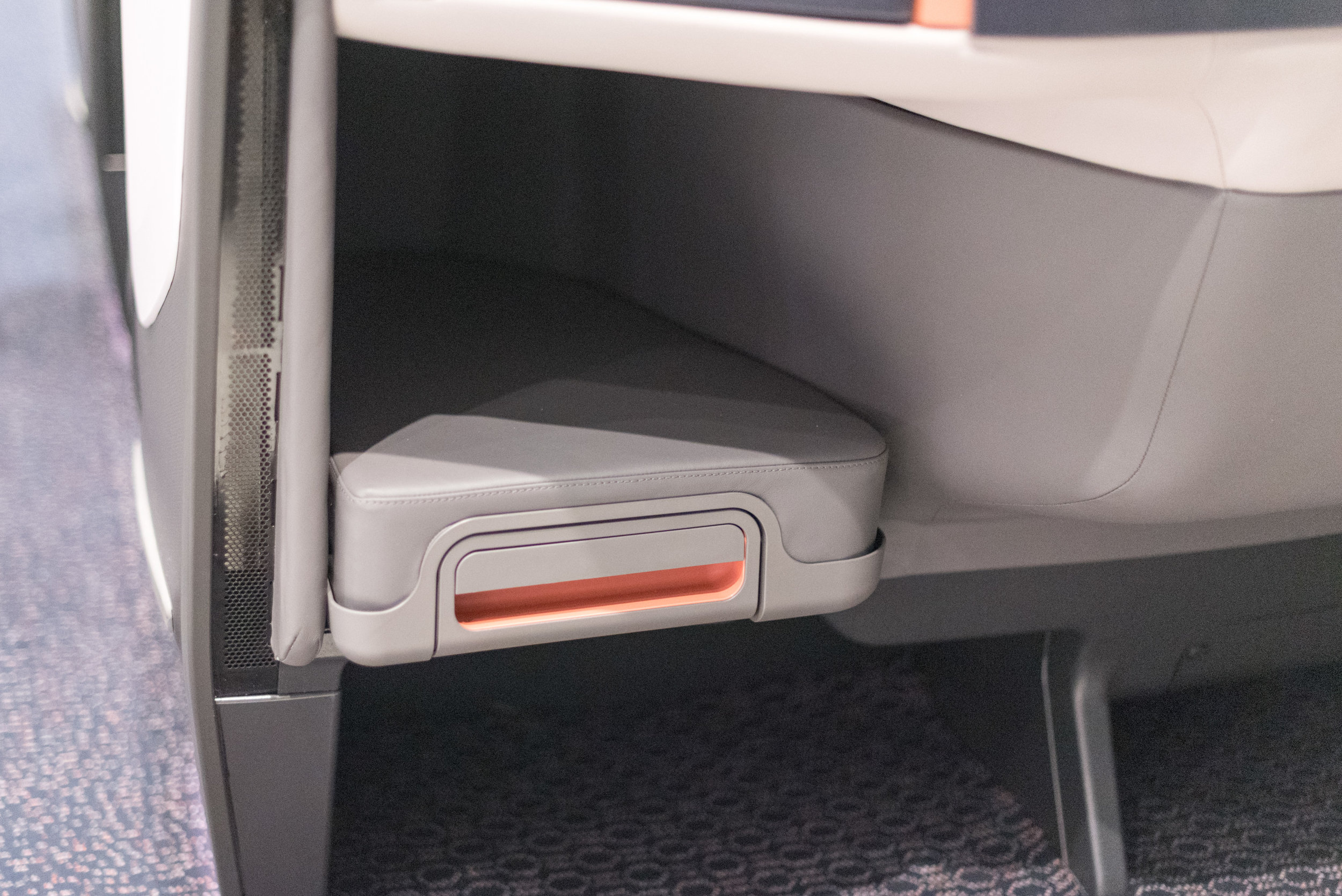 Larger Foot Rest Area  New Business Class (2017) Product on Singapore Airlines' A380