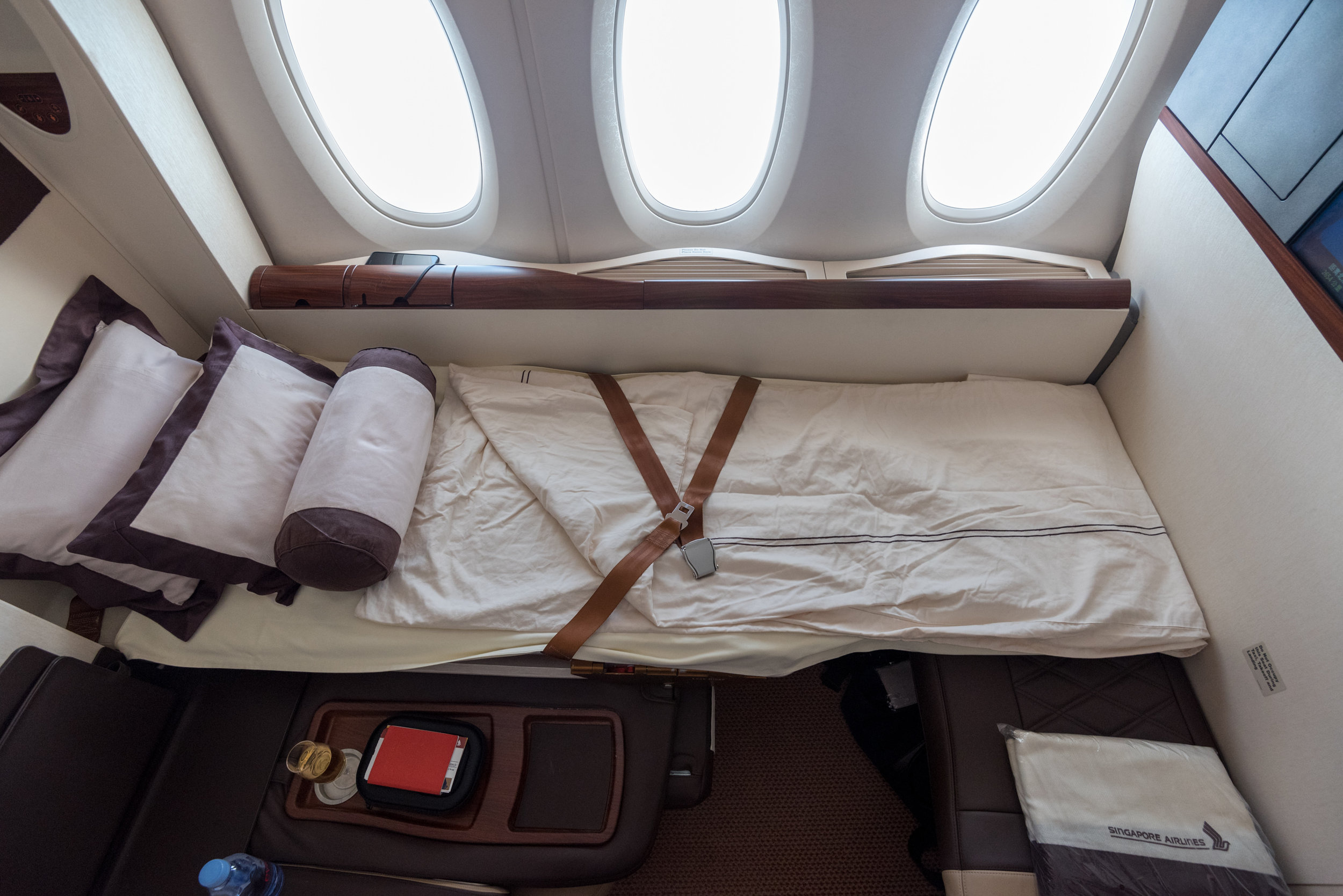 Bed in Suite 3A  Singapore Airlines Suites SQ802 A380-800 - SIN to PEK