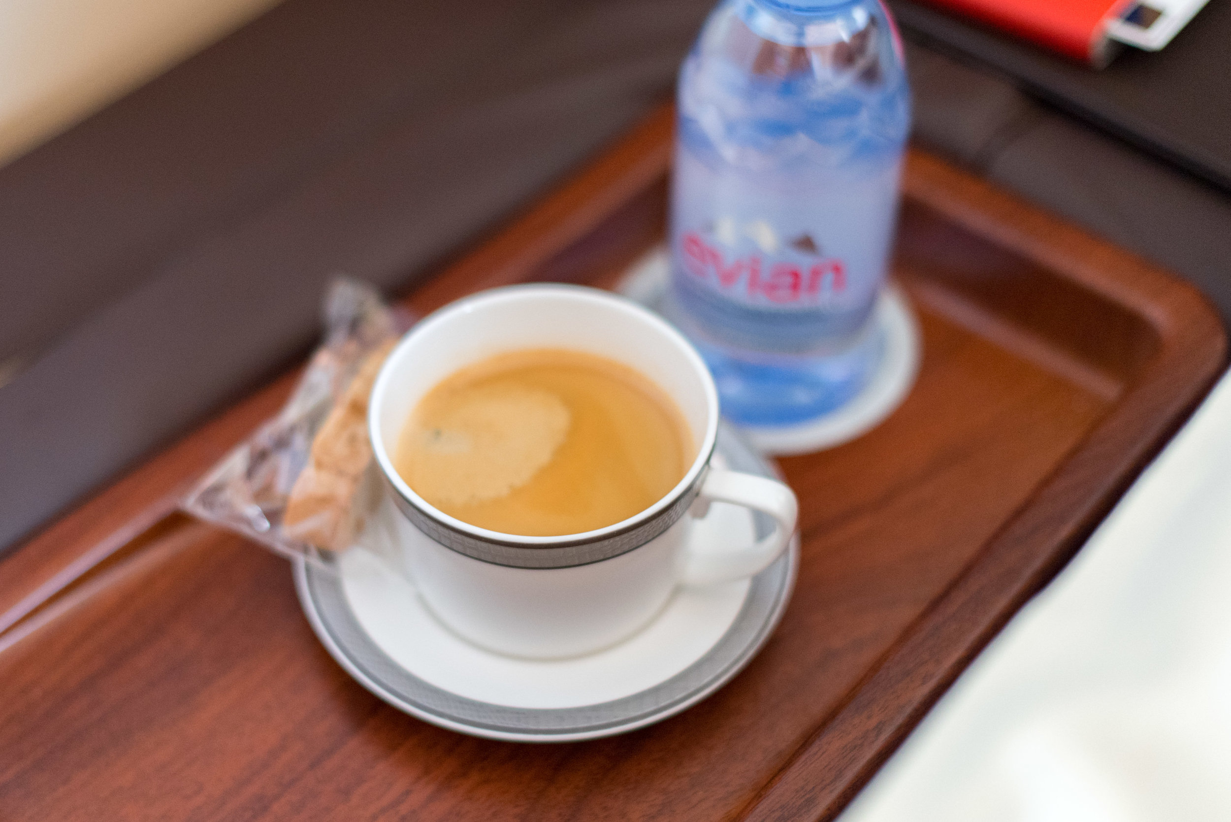 Blue Mountain Coffee and Evian  Singapore Airlines Suites SQ802 A380-800 - SIN to PEK