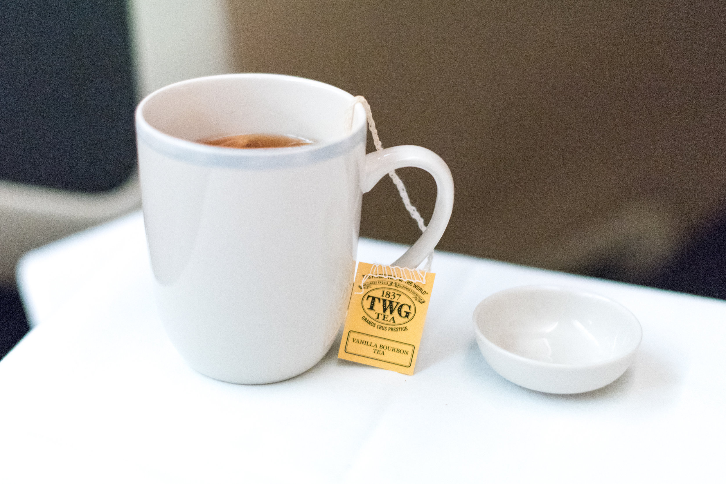 Vanilla Bourbon Tea from TWG - Dinner Service  Singapore Airlines Business Class SQ285 A380-800 - SIN to AKL