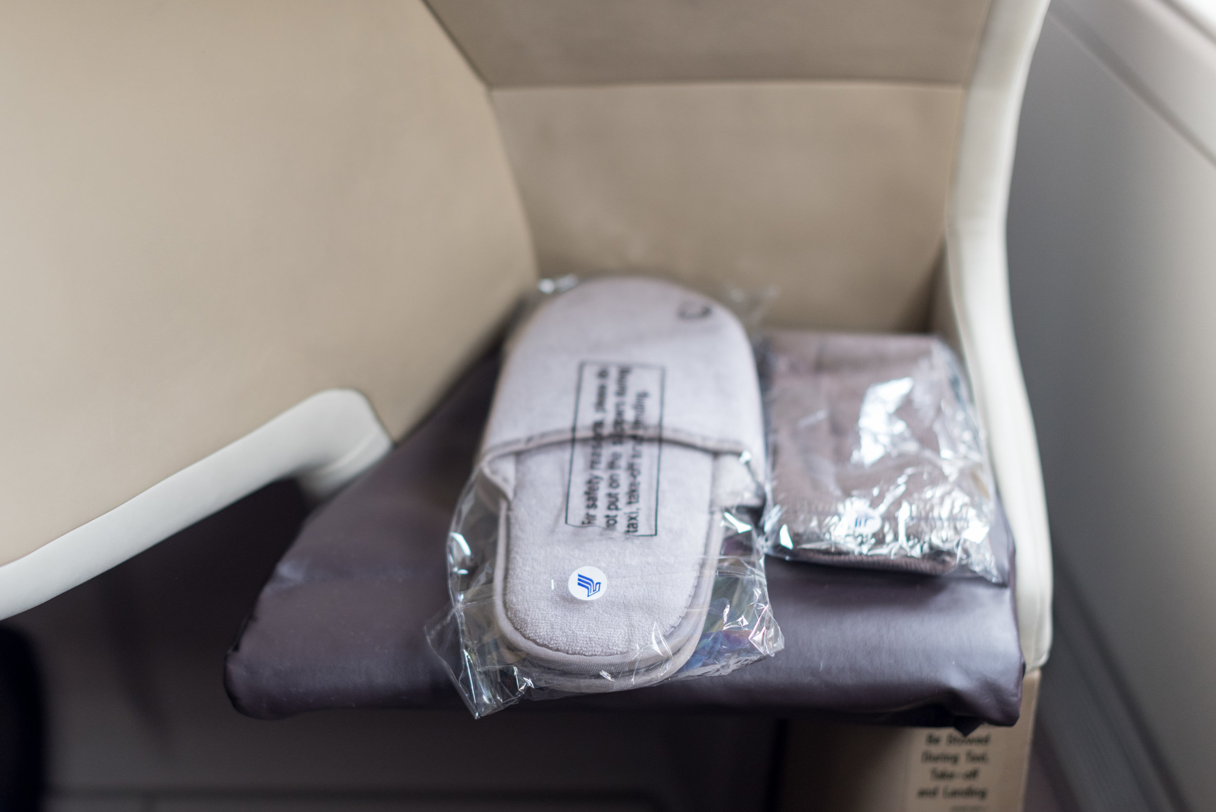 Socks and Slippers  Singapore Airlines Business Class SQ286 A380-800 - AKL to SIN