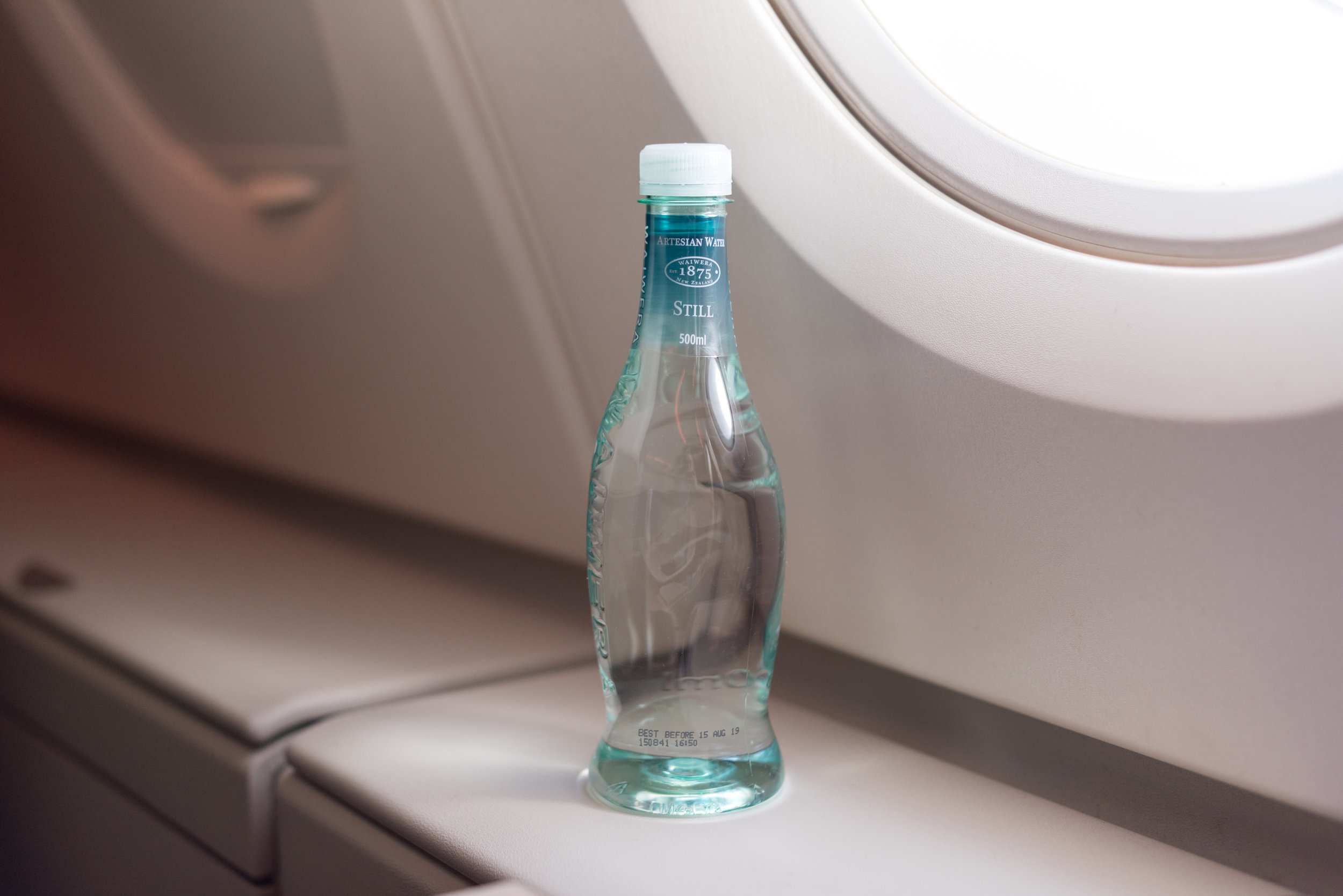 Bottled Water  Singapore Airlines Business Class SQ286 A380-800 - AKL to SIN