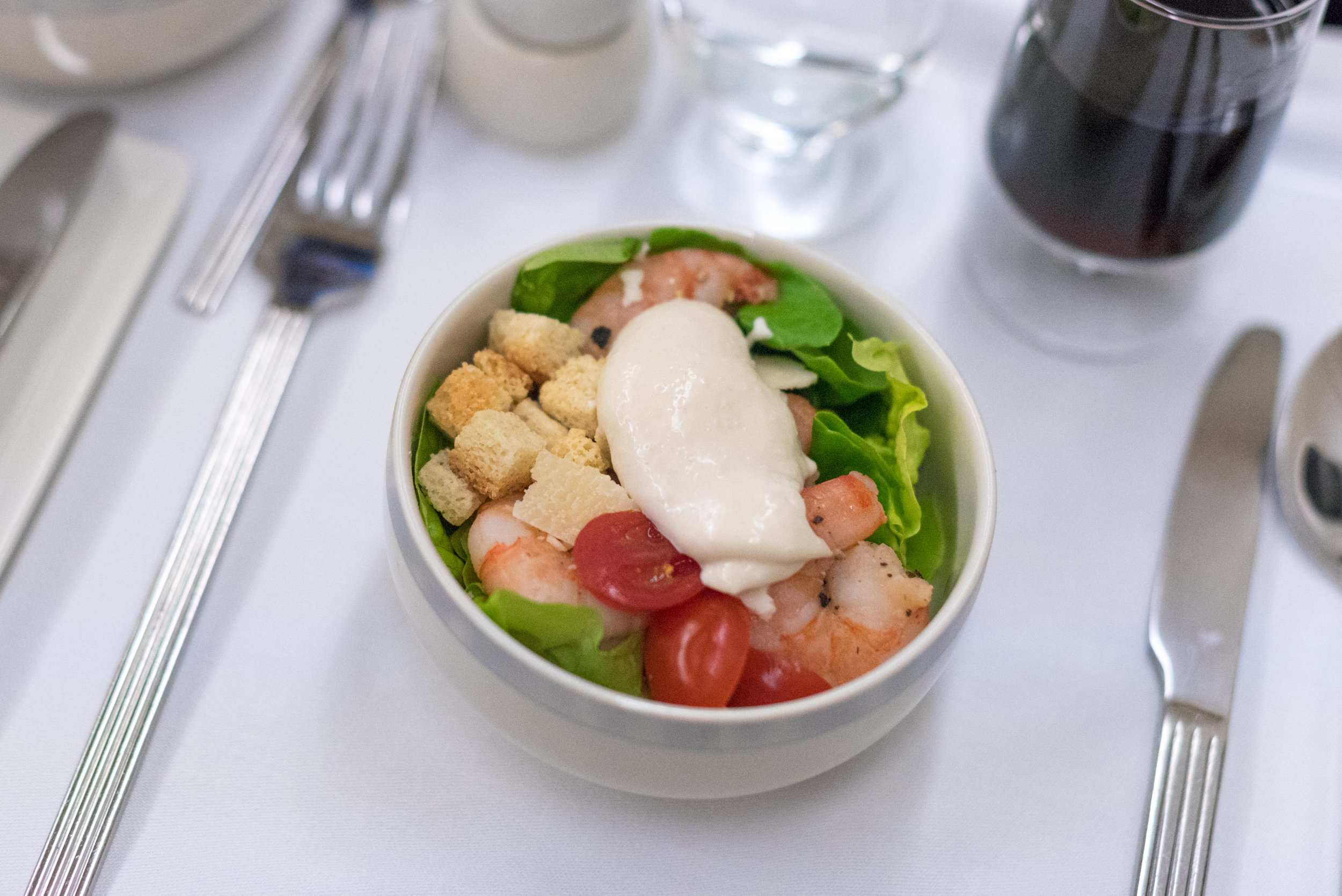 Prawn Caesar Salad  Singapore Airlines Business Class SQ947 A330-300 - DPS to SIN