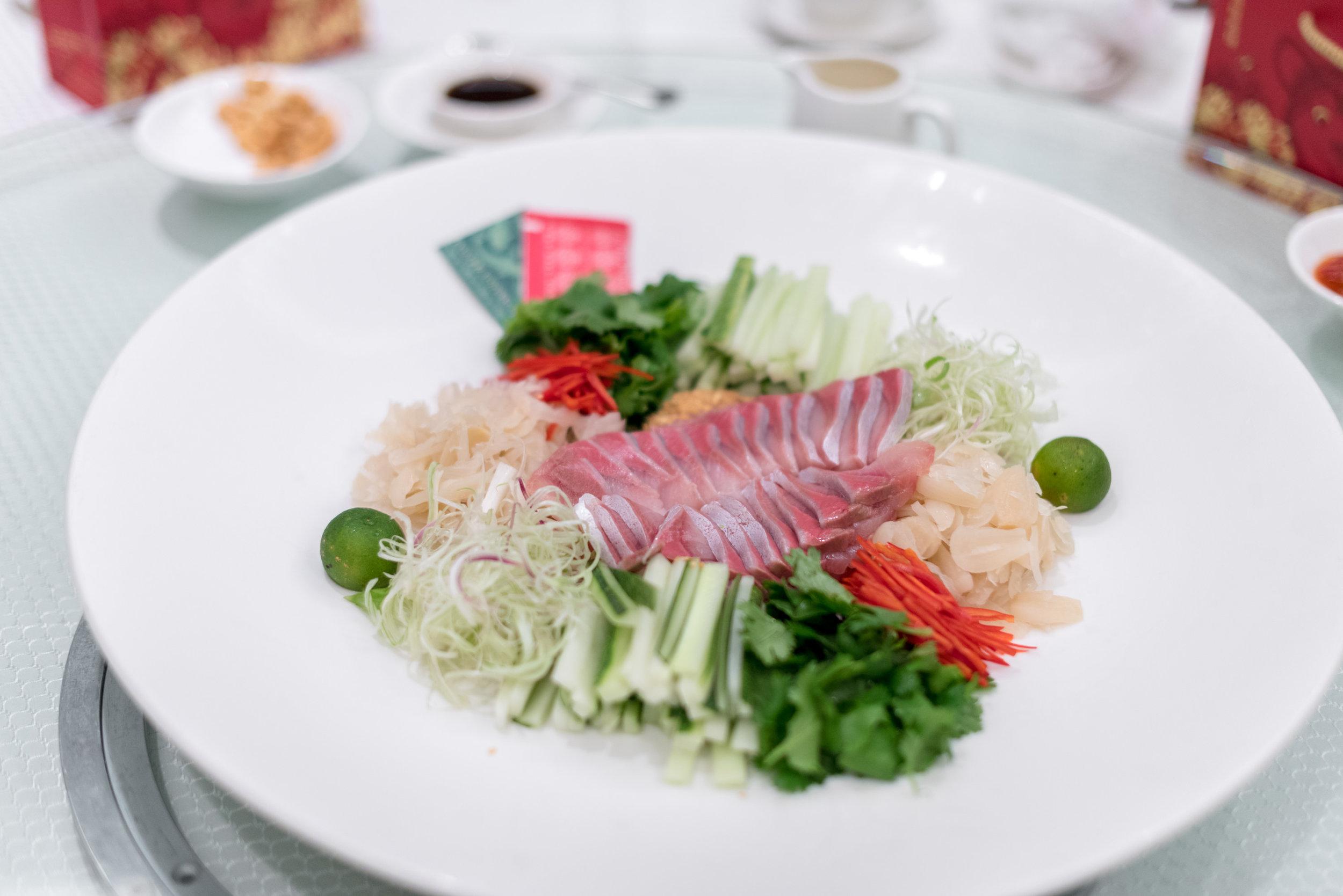 Hamachi Yu Sheng 'Soon Tak' Style  Wah Lok Cantonese Restaurant - Carlton Hotel Singapore
