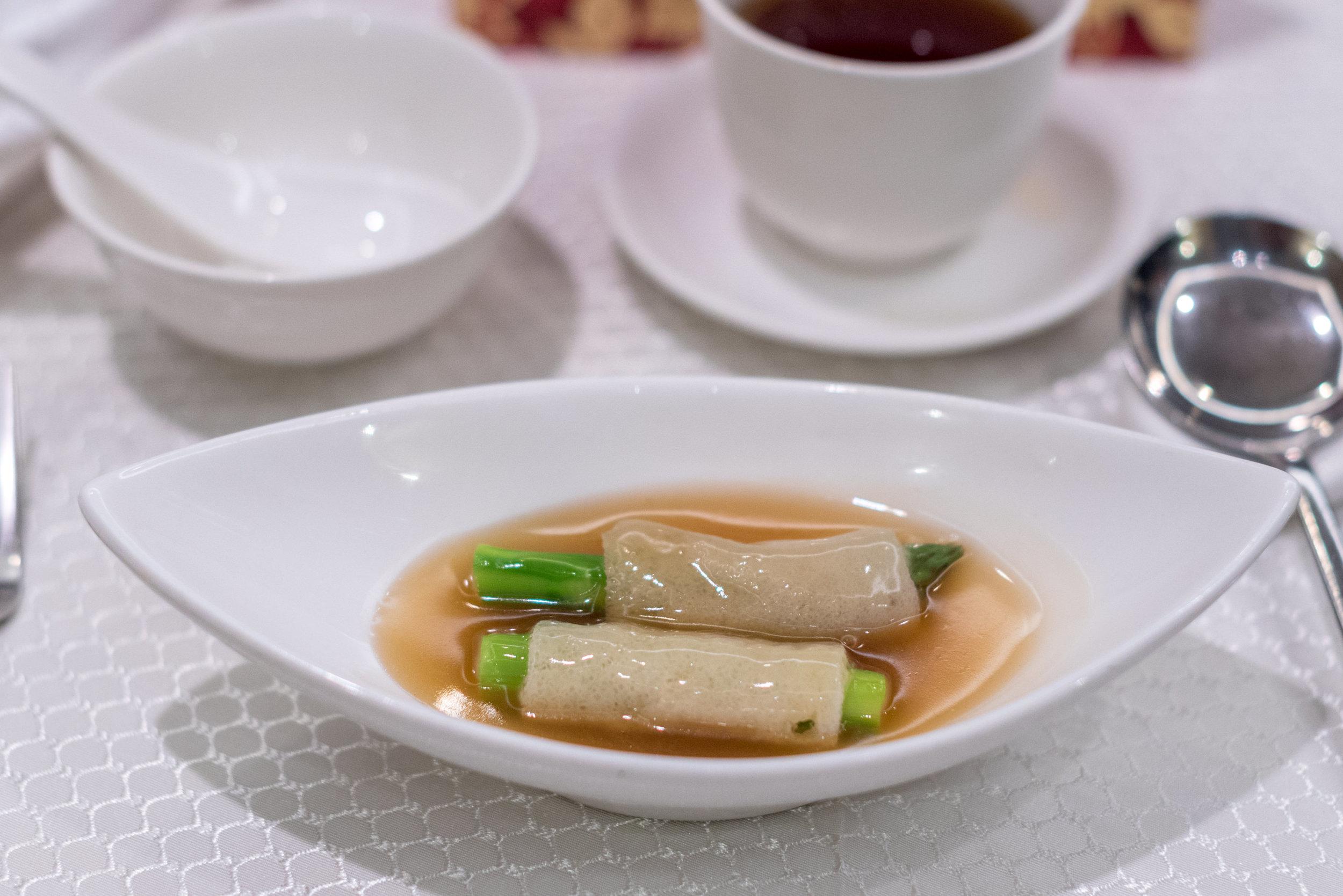 Braised Asparagus stuffed in Bamboo Fungus  Wah Lok Cantonese Restaurant - Carlton Hotel Singapore