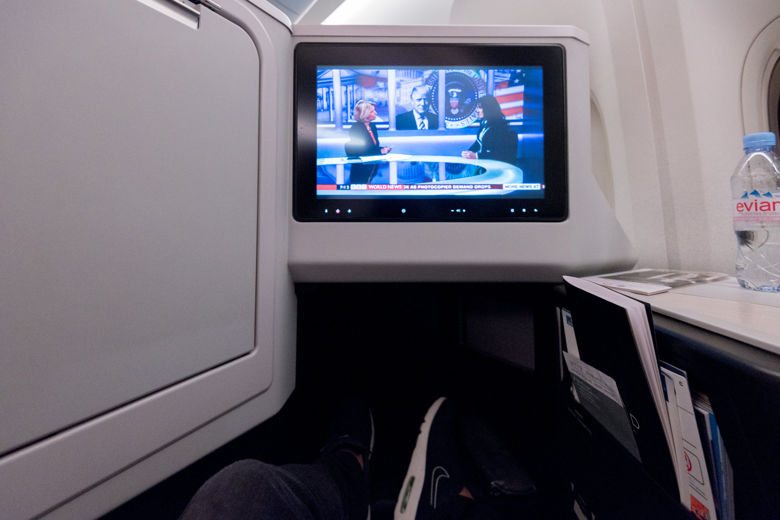 Legroom  Japan Airlines Business Class JL36 777-200ER - SIN to HND