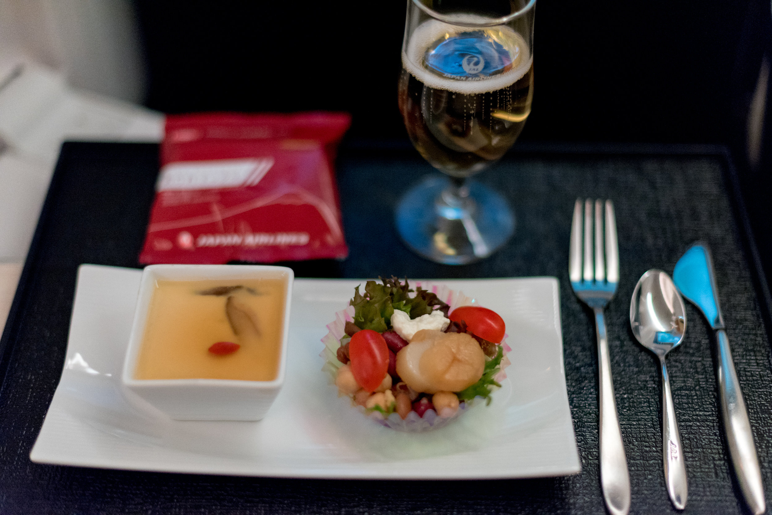 Late Night Snack  Japan Airlines Business Class JL36 777-200ER - SIN to HND