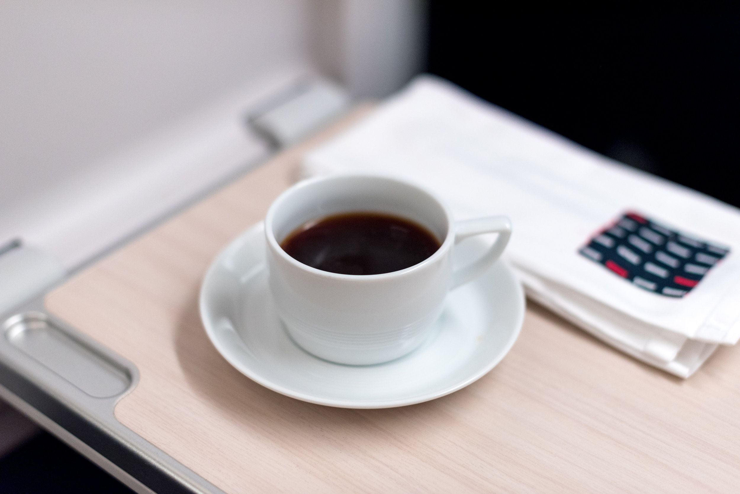 Coffee - Breakfast Service  Japan Airlines Business Class JL36 777-200ER - SIN to HND