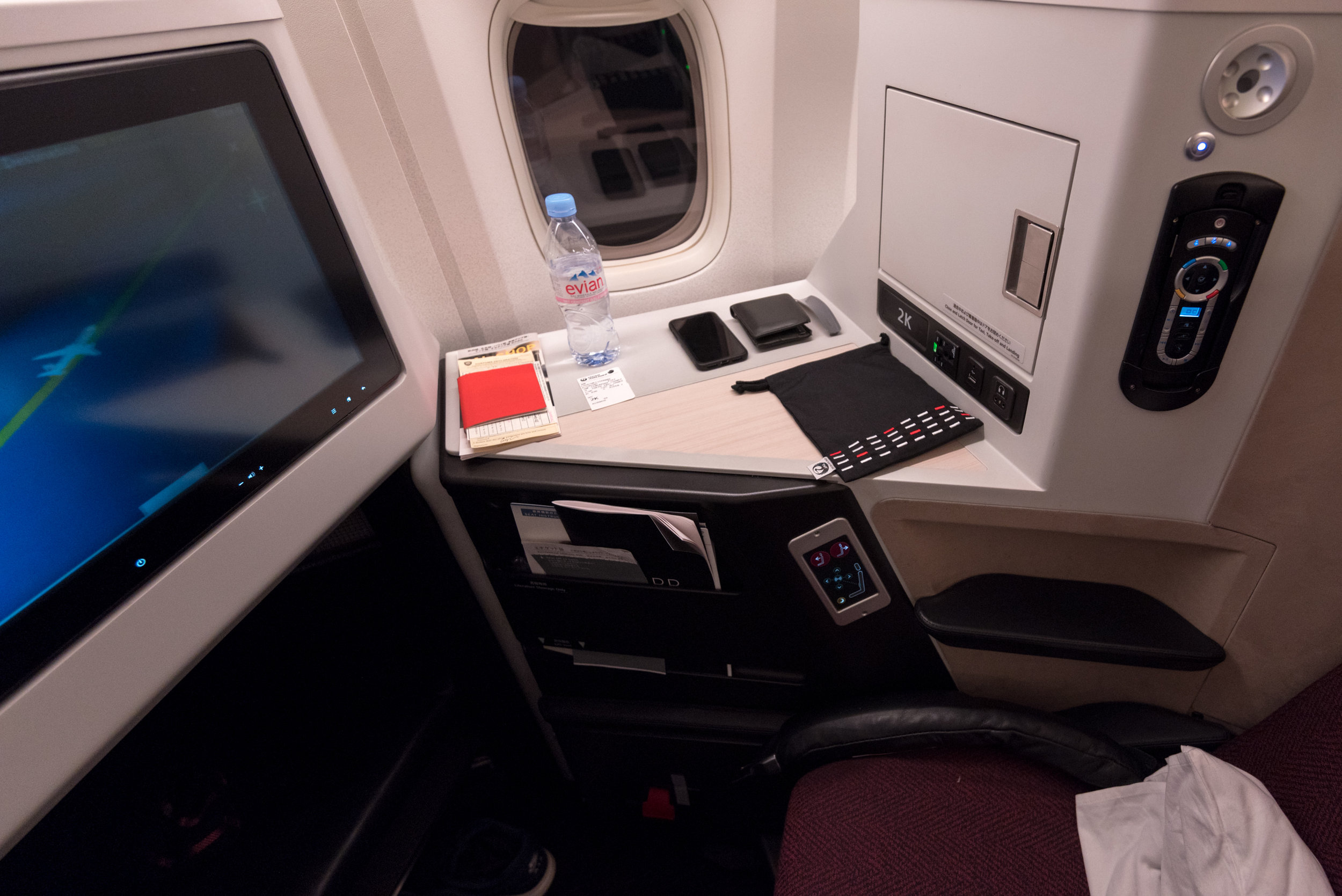 Seat 2K  Japan Airlines Business Class JL36 777-200ER - SIN to HND