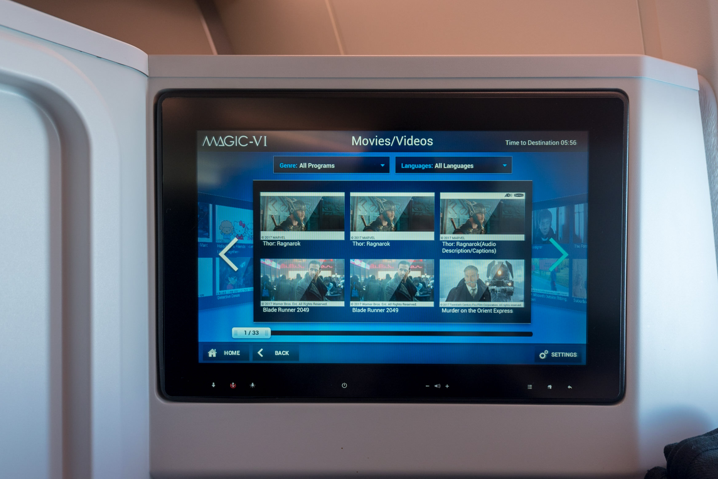 In-flight Entertainment System  Japan Airlines Business Class JL31 777-200ER - HND to BKK