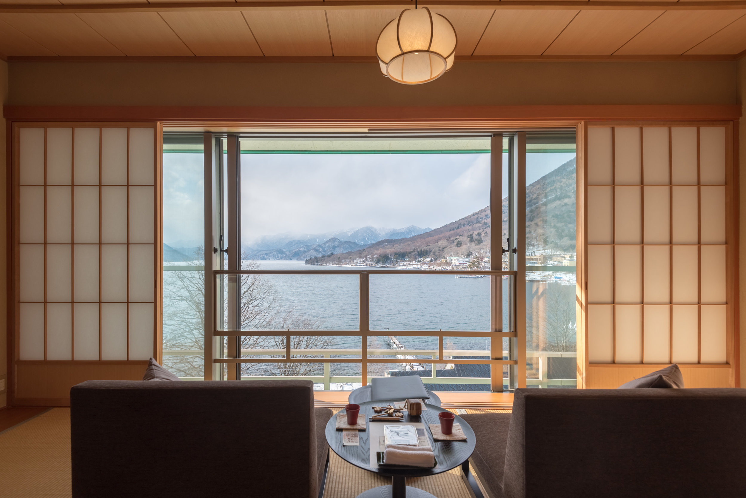 Window and Sliding Shoji Screens  Japanese-style Room with Lake View GL2 - Hoshino Resorts KAI Nikko