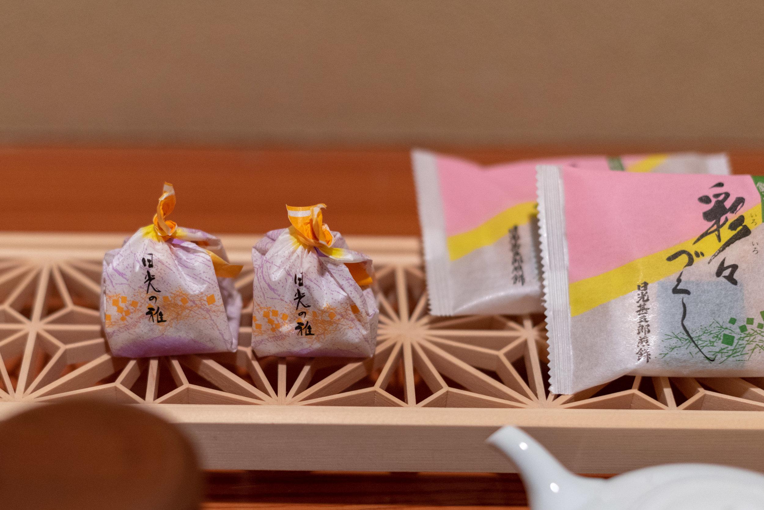 Seasonal Snacks and Rice Crackers  Japanese-style Room with Lake View GL2 - Hoshino Resorts KAI Nikko