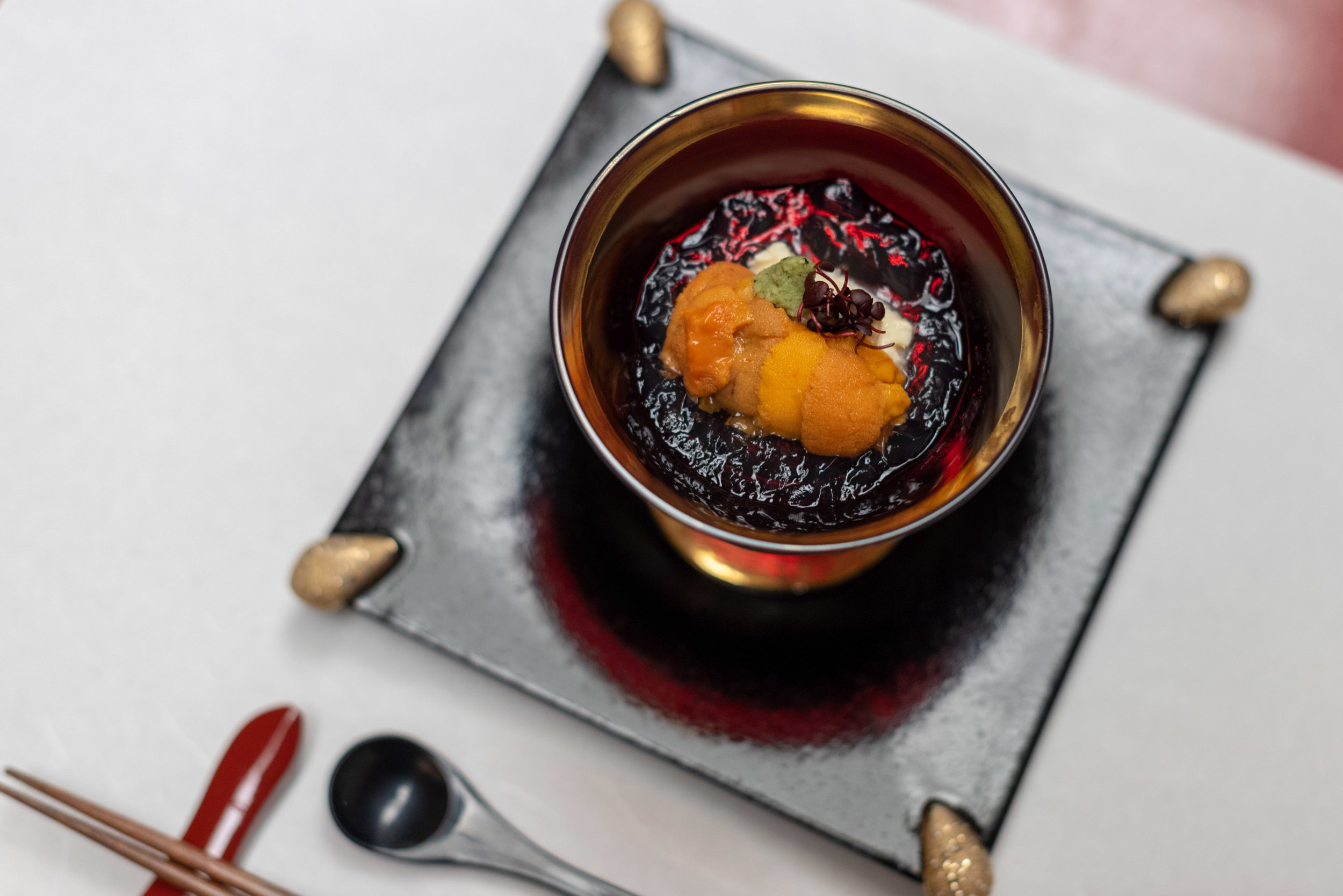 Yuba and Sea Urchin on Japanese Soup Stock Jelly  Dinner - Hoshino Resorts KAI Nikko