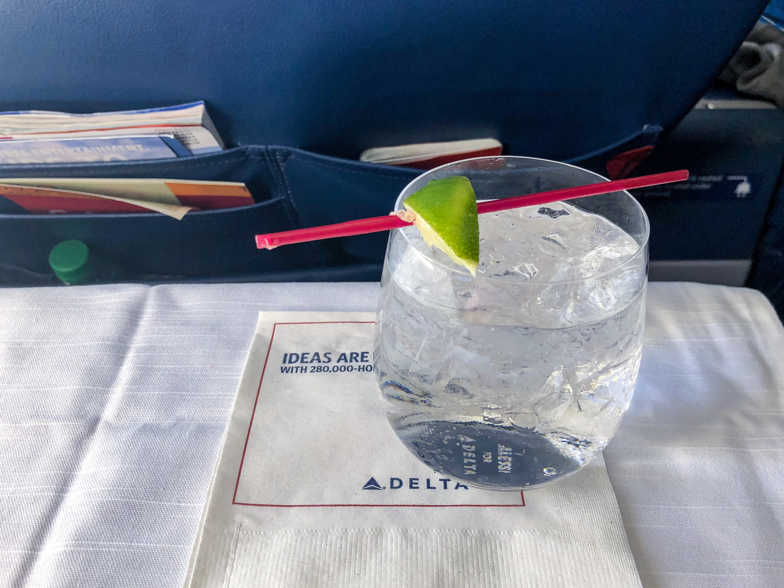 Gin and Tonic (Complimentary for First Class Passengers)  Delta Air Lines First Class - JFK to TPA