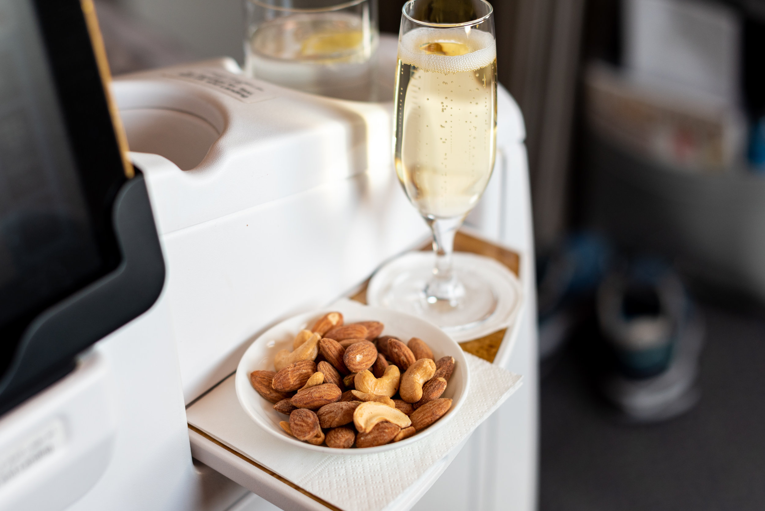 Champagne and Warm Nuts  Emirates Business Class 777-300ER - SIN to DXB