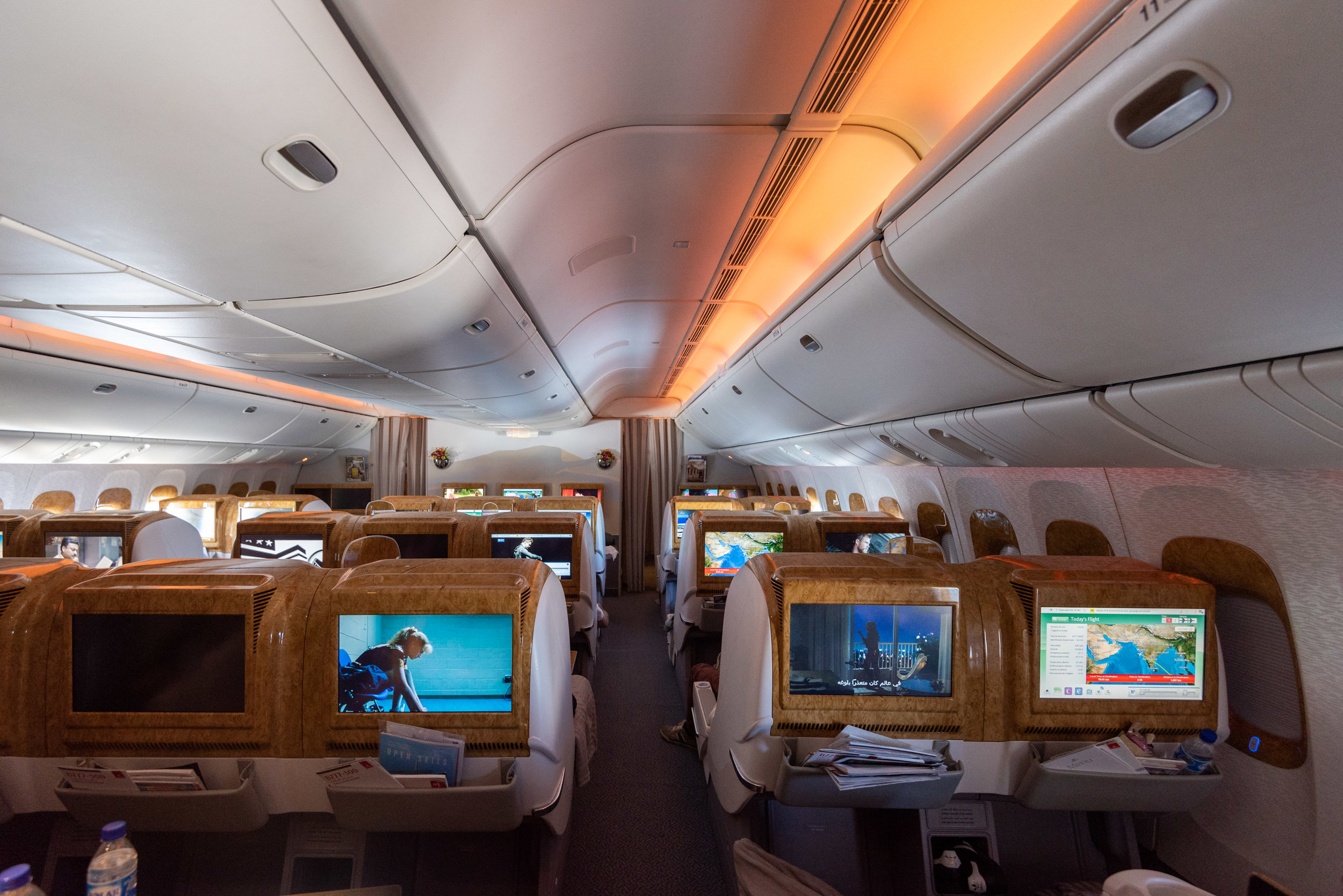 Larger Business Class Cabin  Emirates Business Class 777-300ER - SIN to DXB