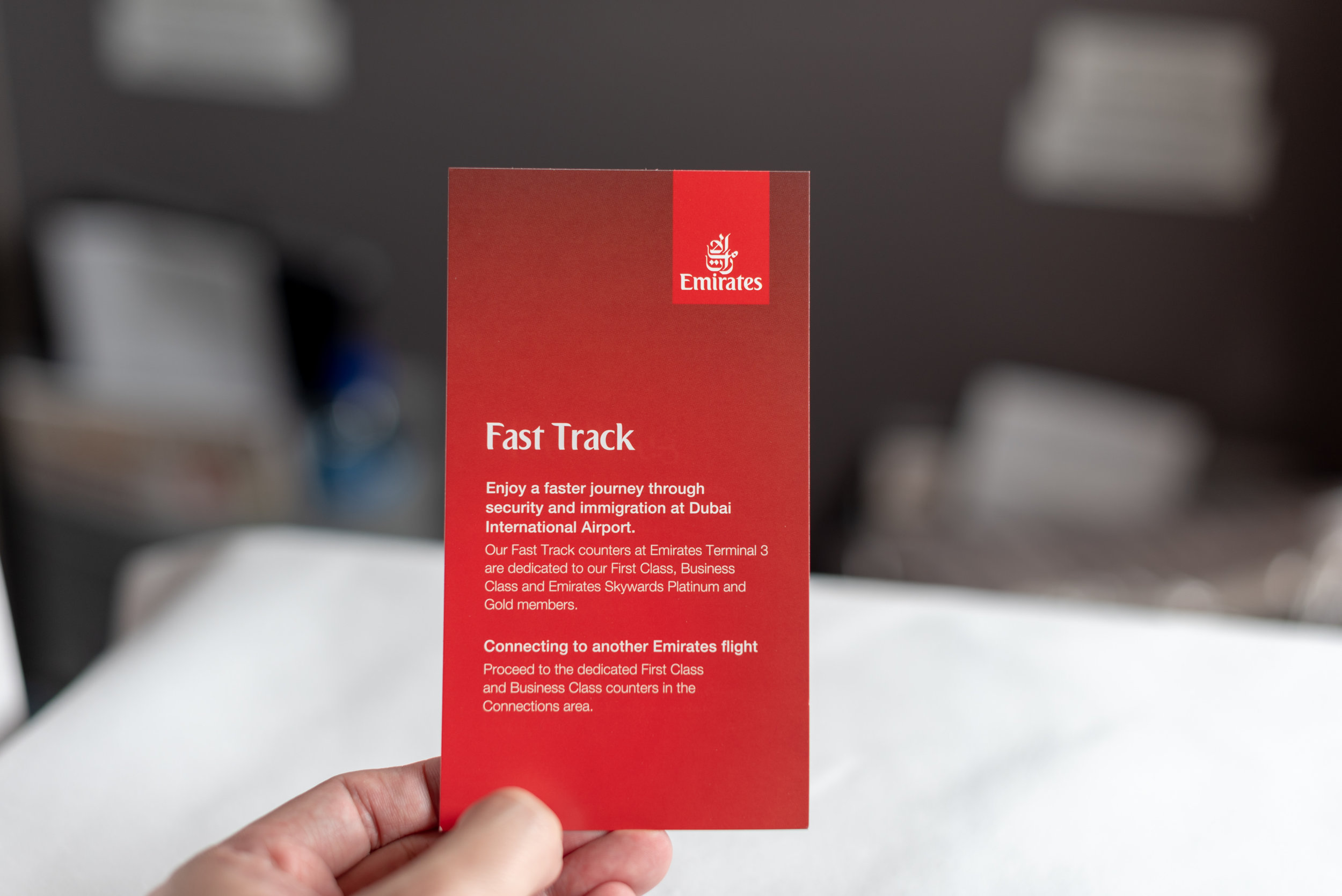 Fast Track Card  Emirates Business Class 777-300ER - SIN to DXB