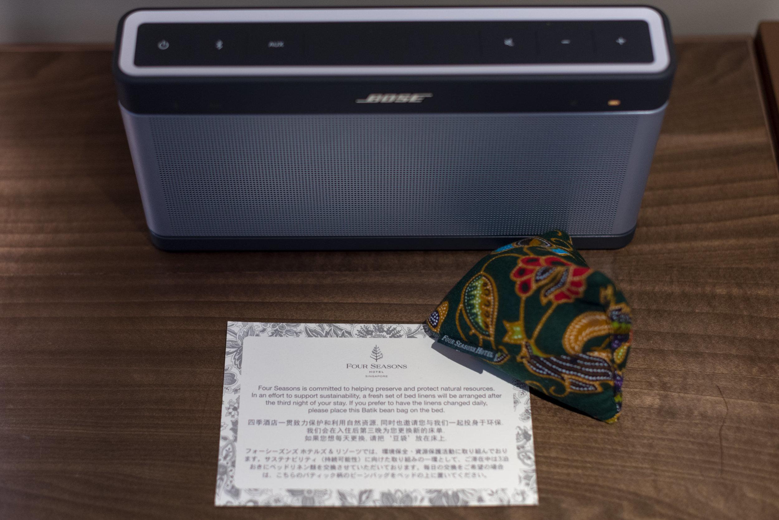 Portable Bluetooth Speaker  Four Seasons Executive Suite - Four Seasons Hotel Singapore