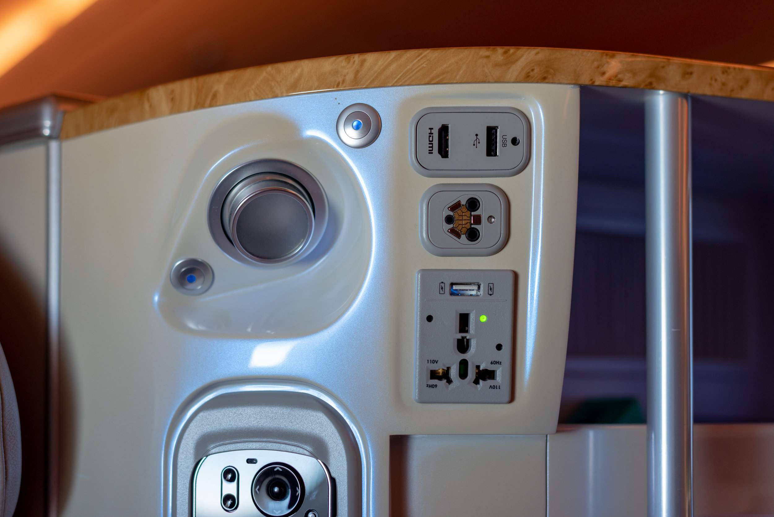 Universal Power Outlet and USB Charging Ports  Emirates Business Class EK203 A380-800 - DXB to JFK
