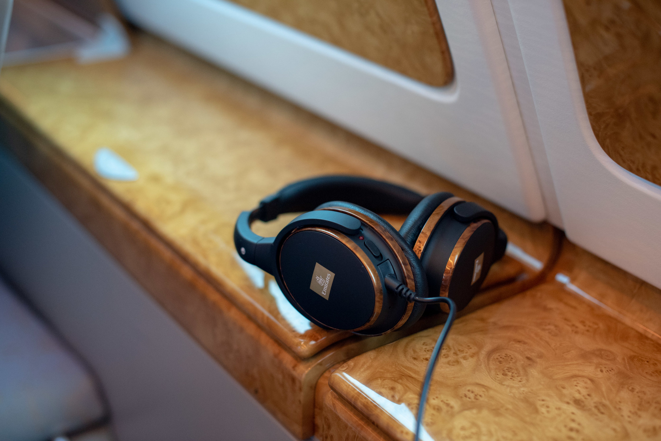 Noise-cancelling Headphones in Business Class  Emirates Business Class EK203 A380-800 - DXB to JFK