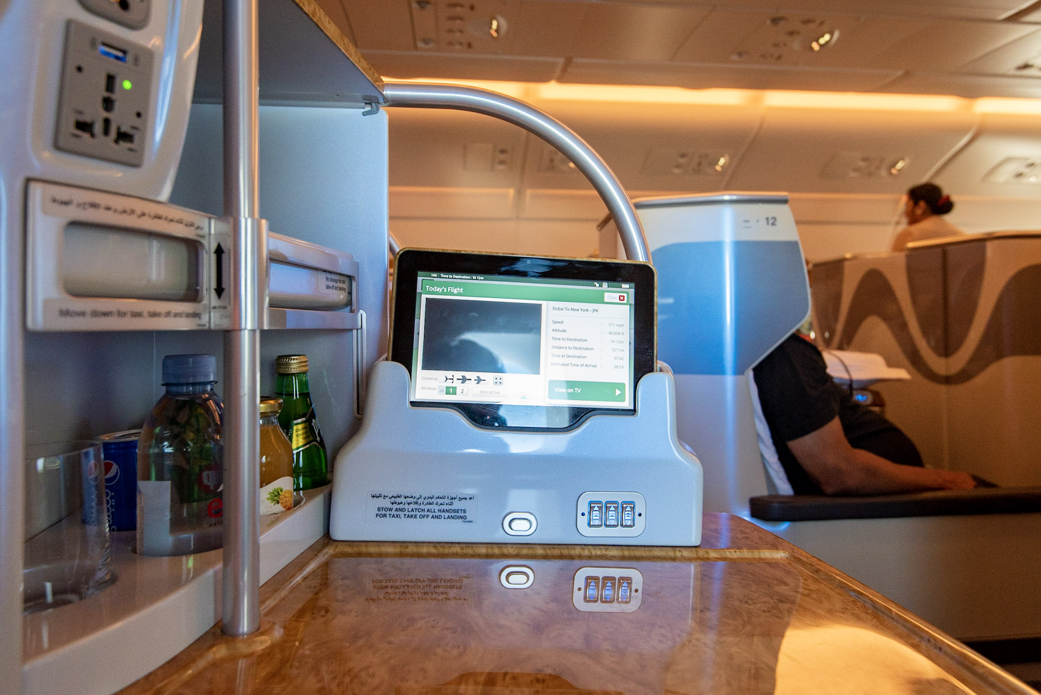Personal Tablet  Emirates Business Class EK203 A380-800 - DXB to JFK