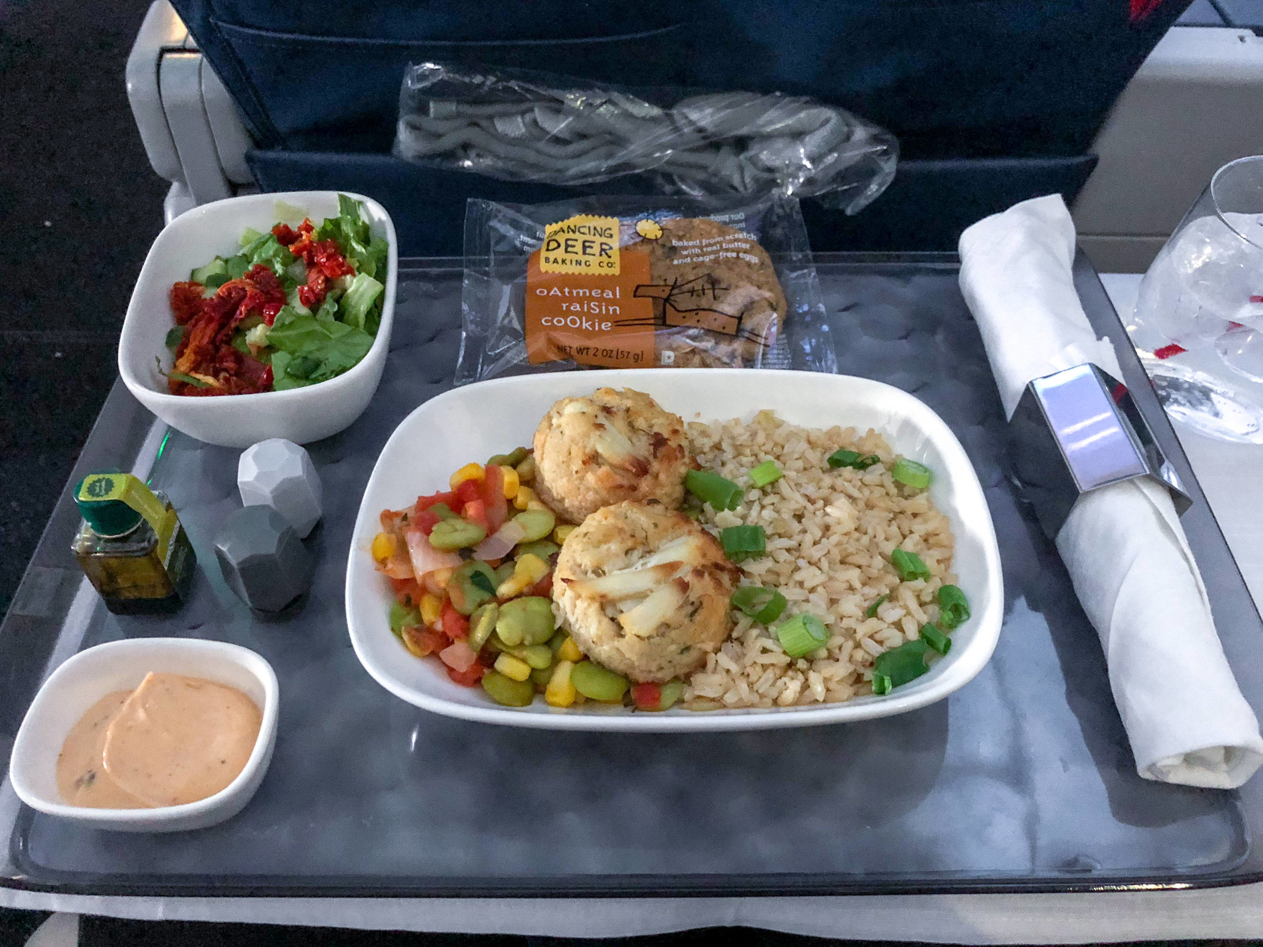 Warm Meal - Crab Cakes  Delta Air Lines First Class - MCO to JFK