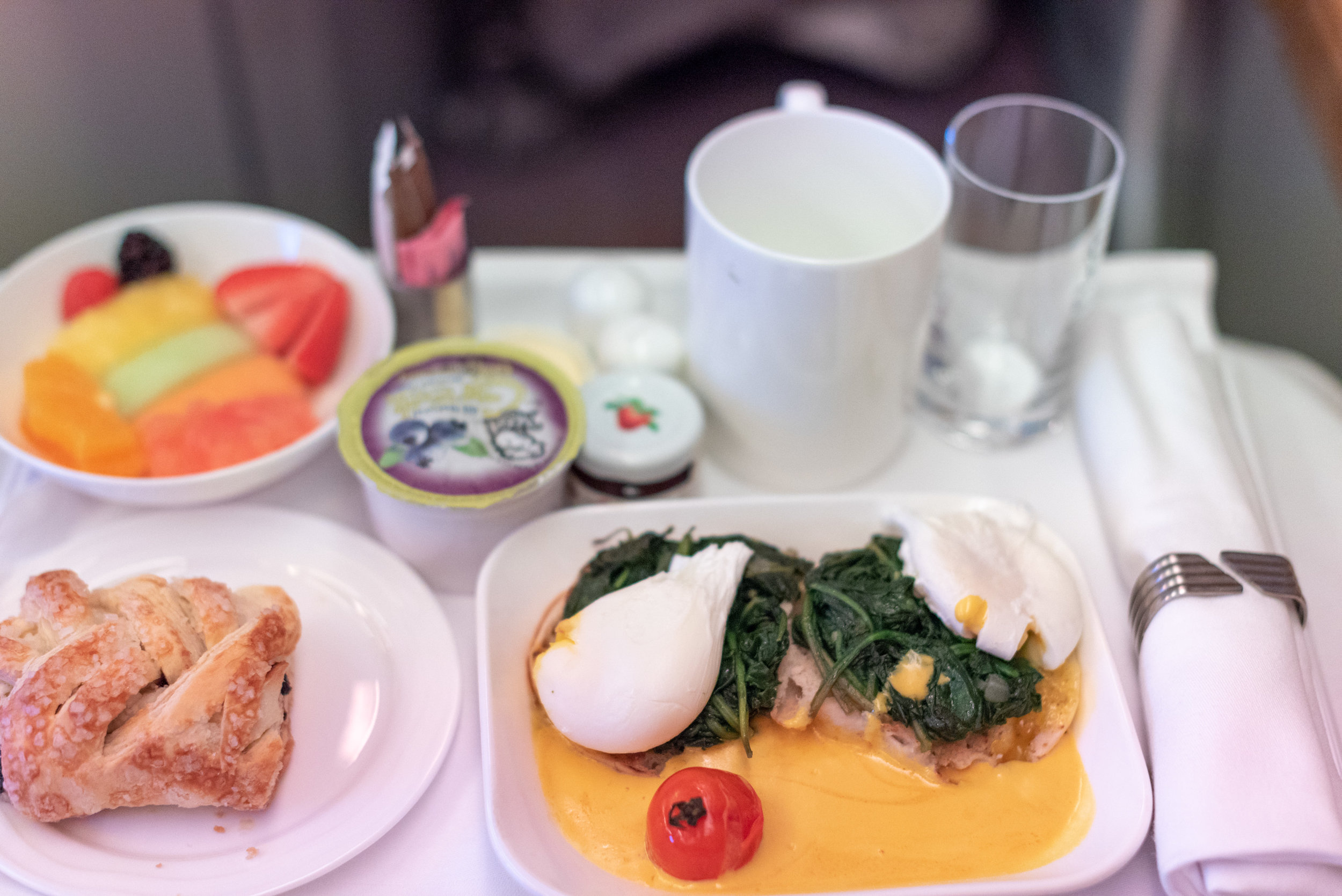 Breakfast  Emirates Business Class EK202 A380-800 - JFK to DXB