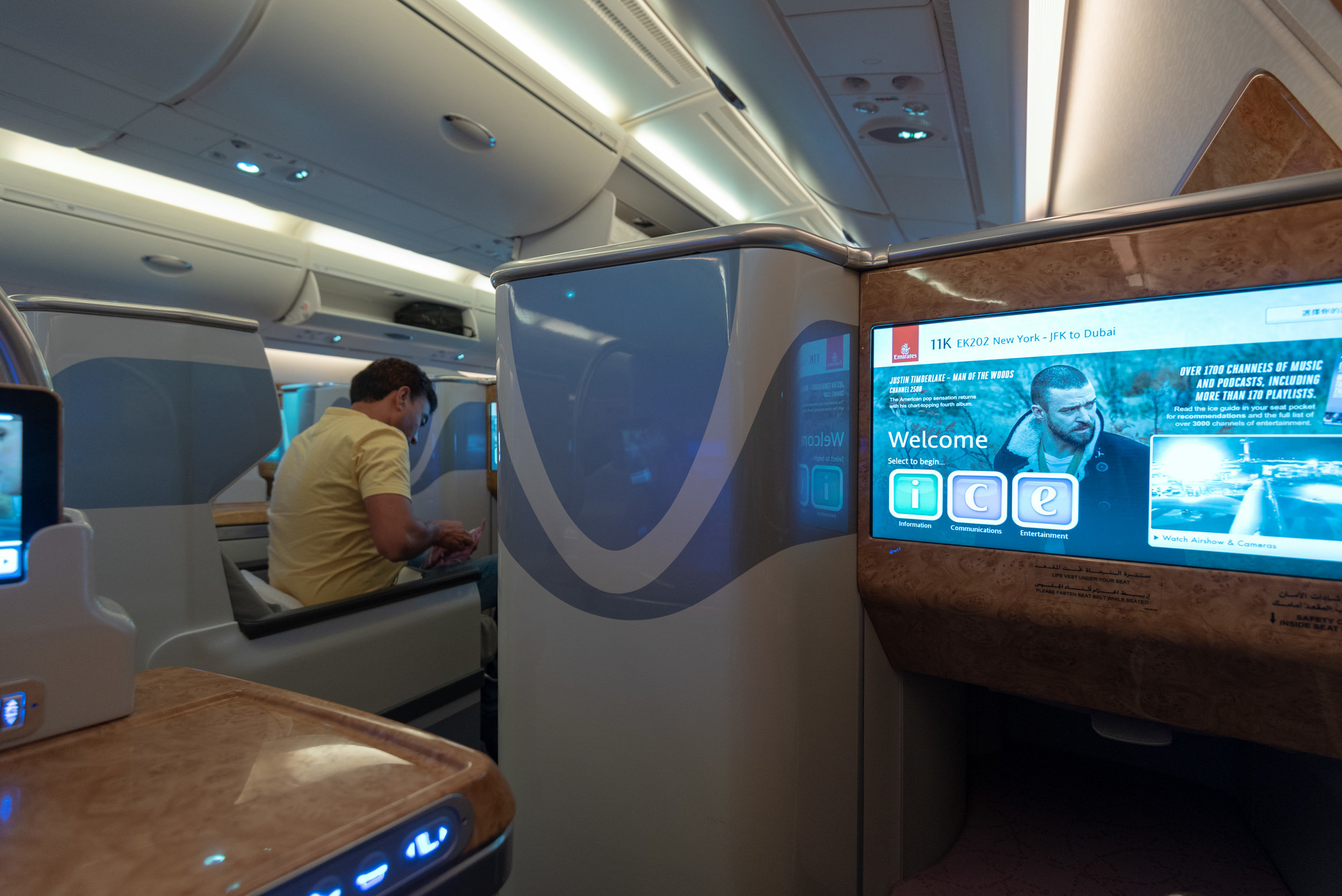 Business Class Cabin  Emirates Business Class EK202 A380-800 - JFK to DXB