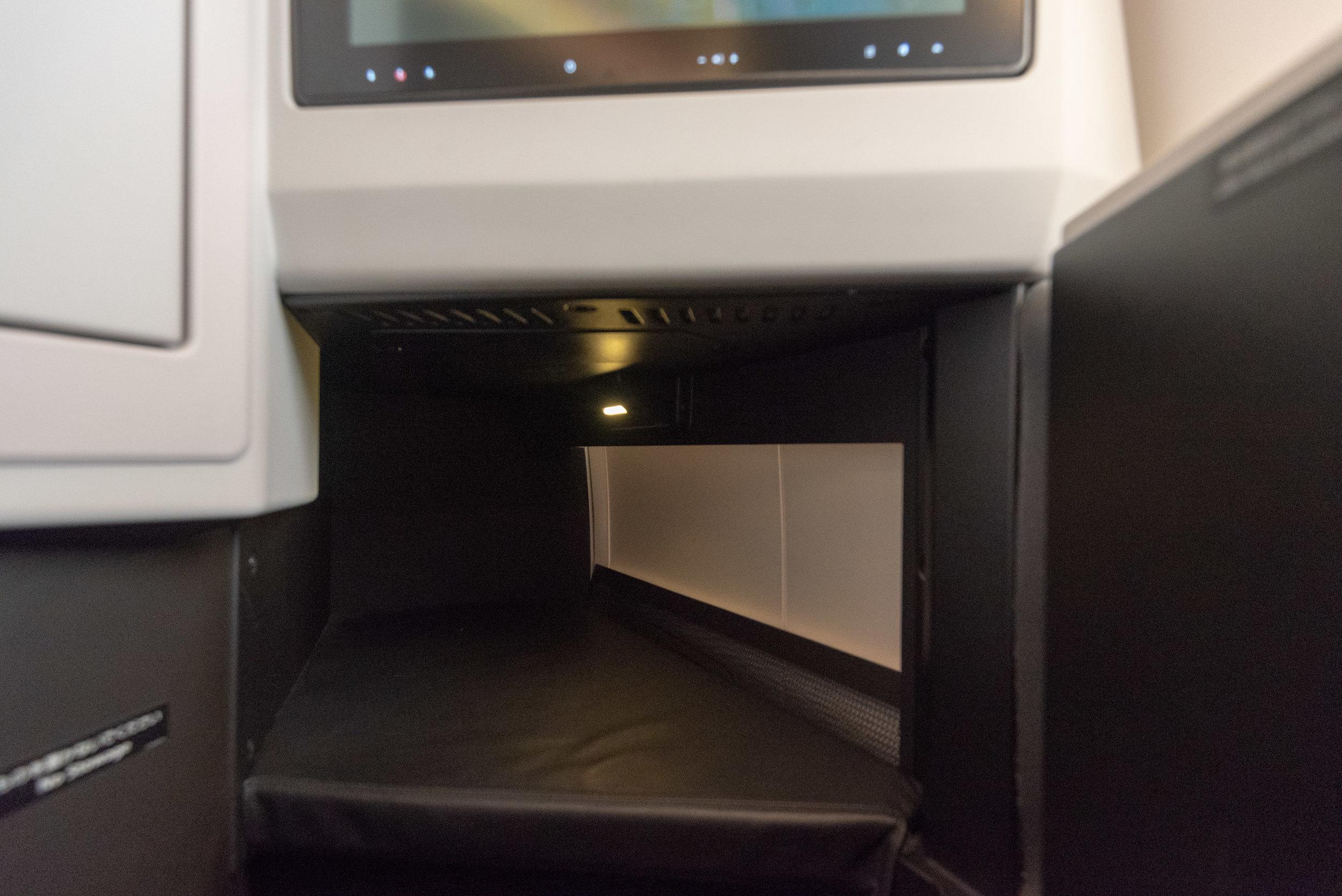 Legroom in Seat 1K Japan Airlines Business Class JL724 - KUL to NRT