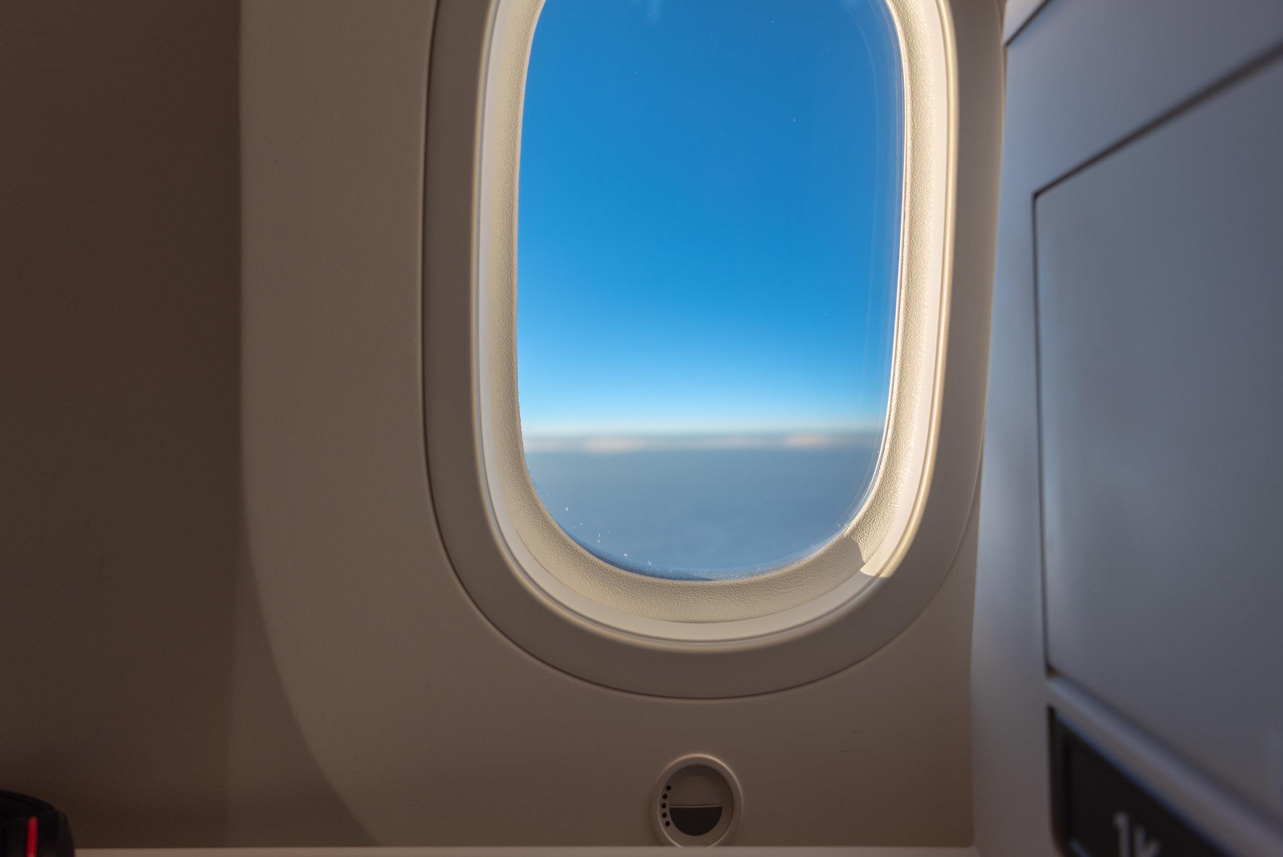 Seat Window on Dreamliner Japan Airlines Business Class JL724 - KUL to NRT