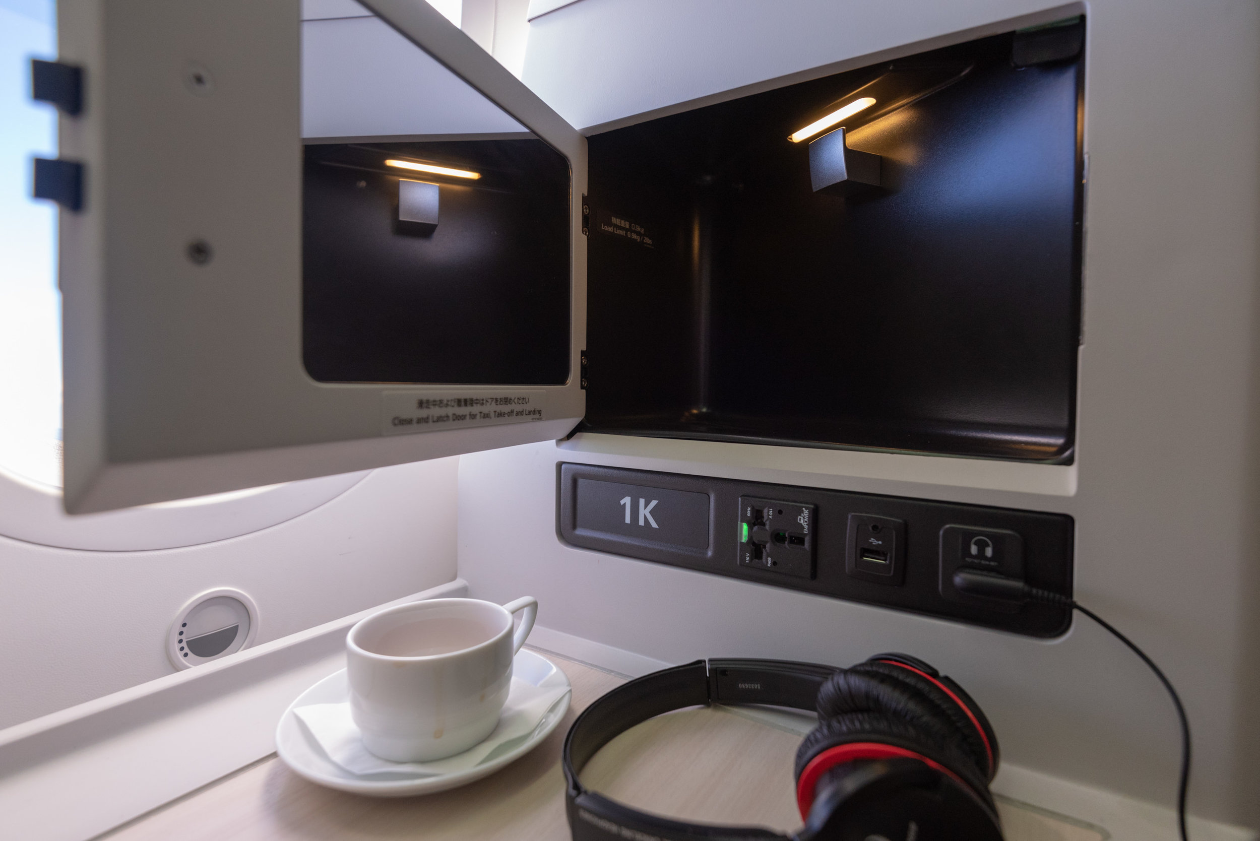 Side Compartment Japan Airlines Business Class JL724 - KUL to NRT