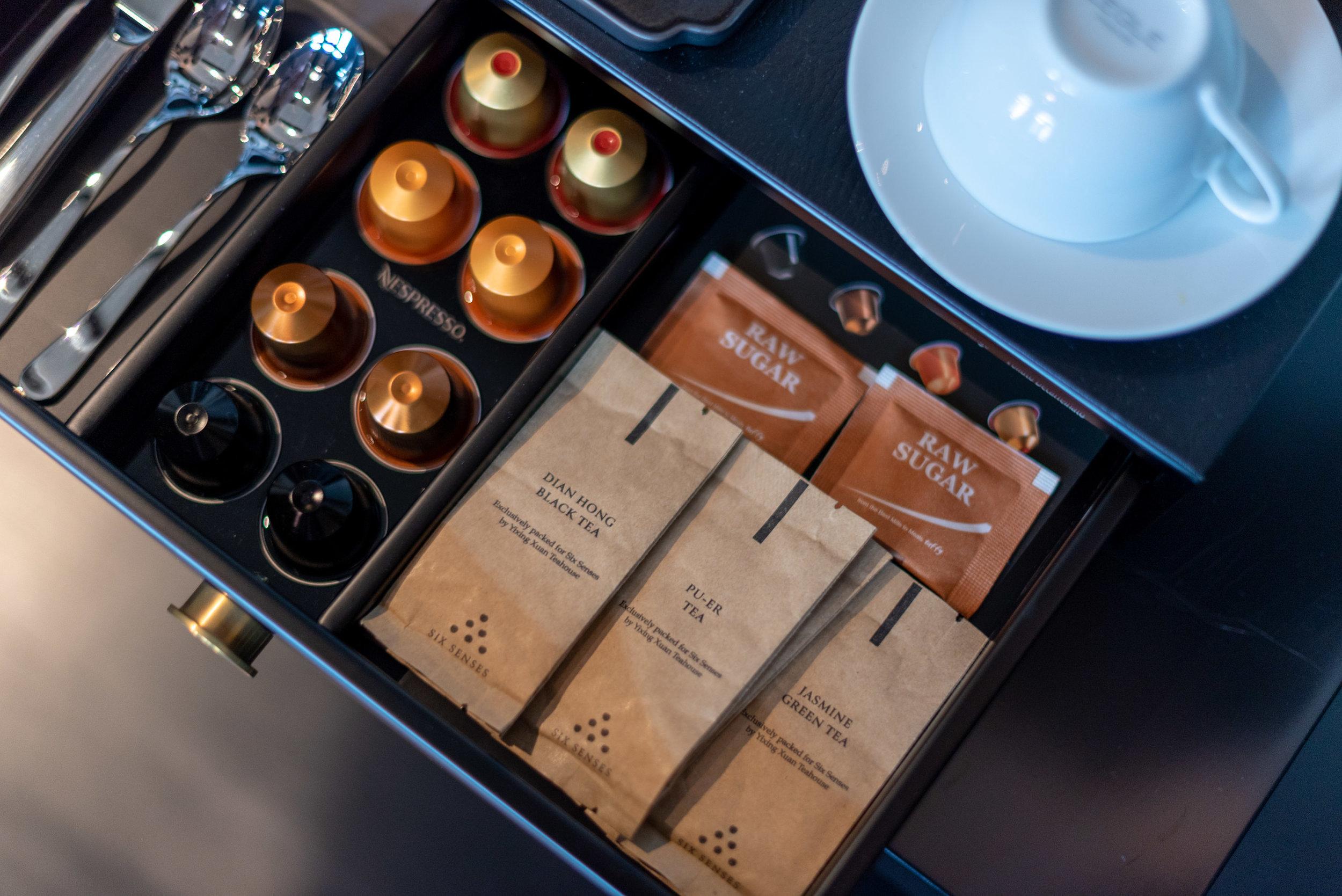 Tea Selection and Nespresso Coffee Capsules  Duxton Duplex Suite - Six Senses Duxton