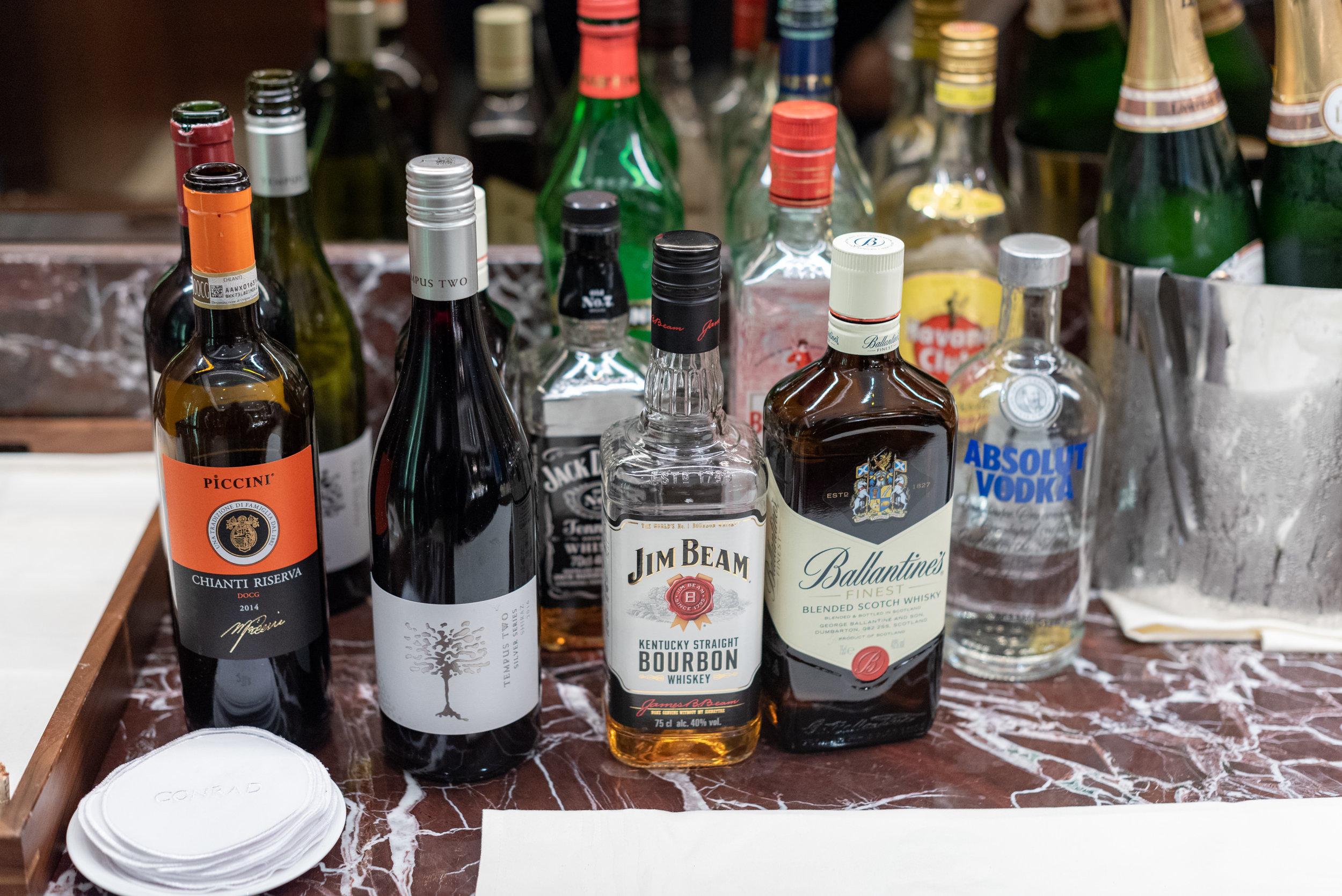 Selection of Liquor and Spirits  The Club at Conrad - Conrad Centennial Singapore