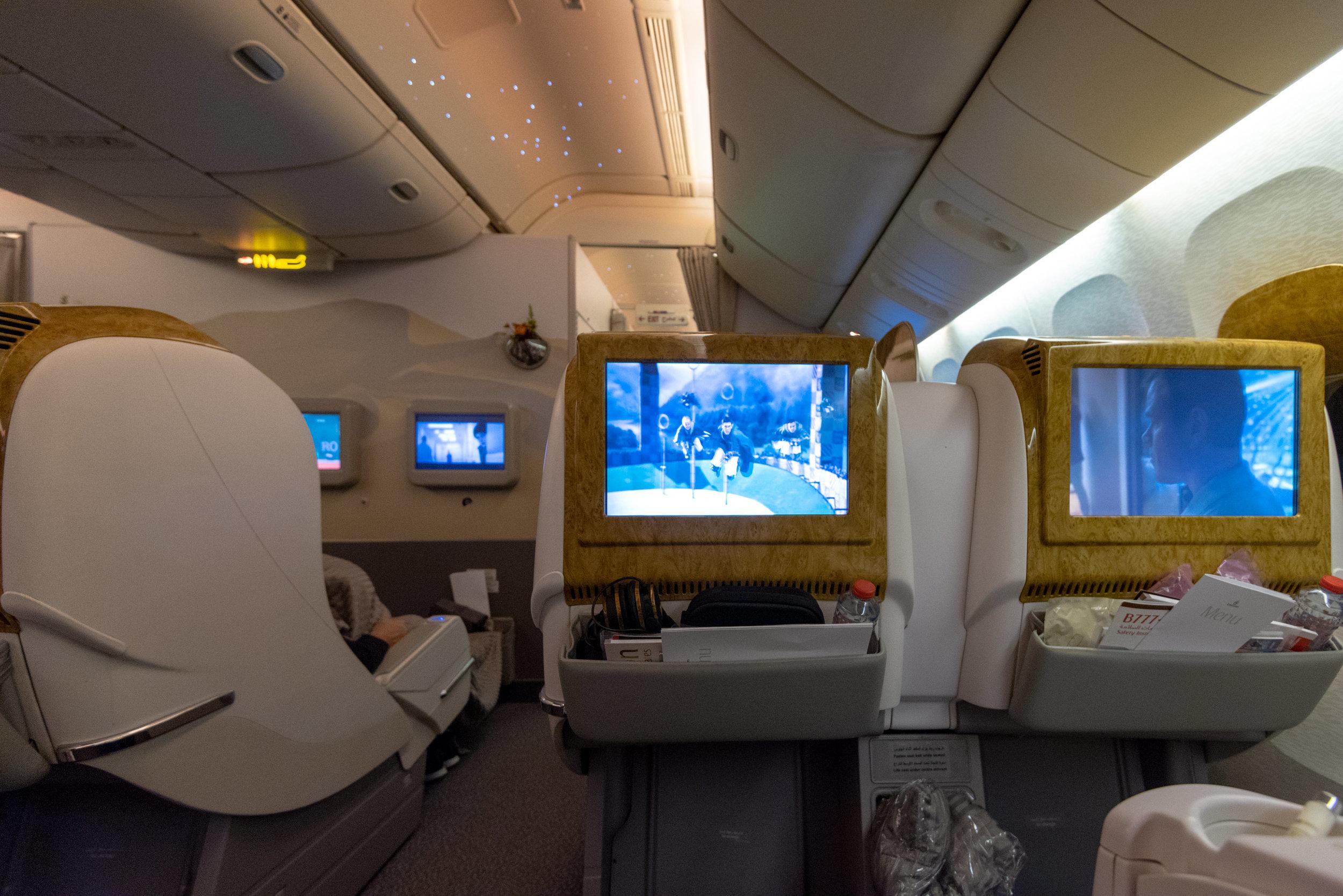 Business Class Cabin  Emirates EK352 Business Class 777-300ER - DXB to SIN