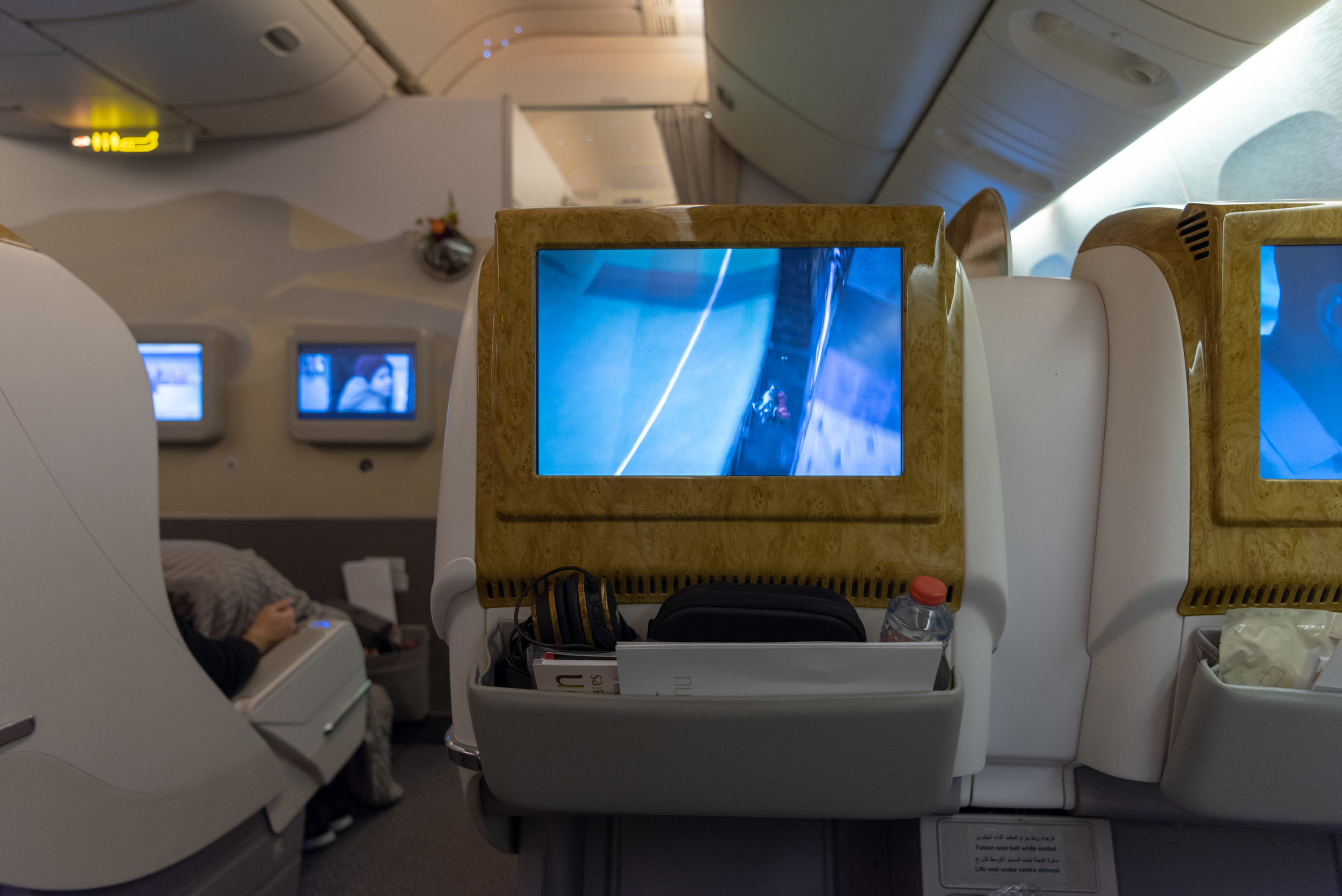 In-flight Entertainment Screen  Emirates EK352 Business Class 777-300ER - DXB to SIN
