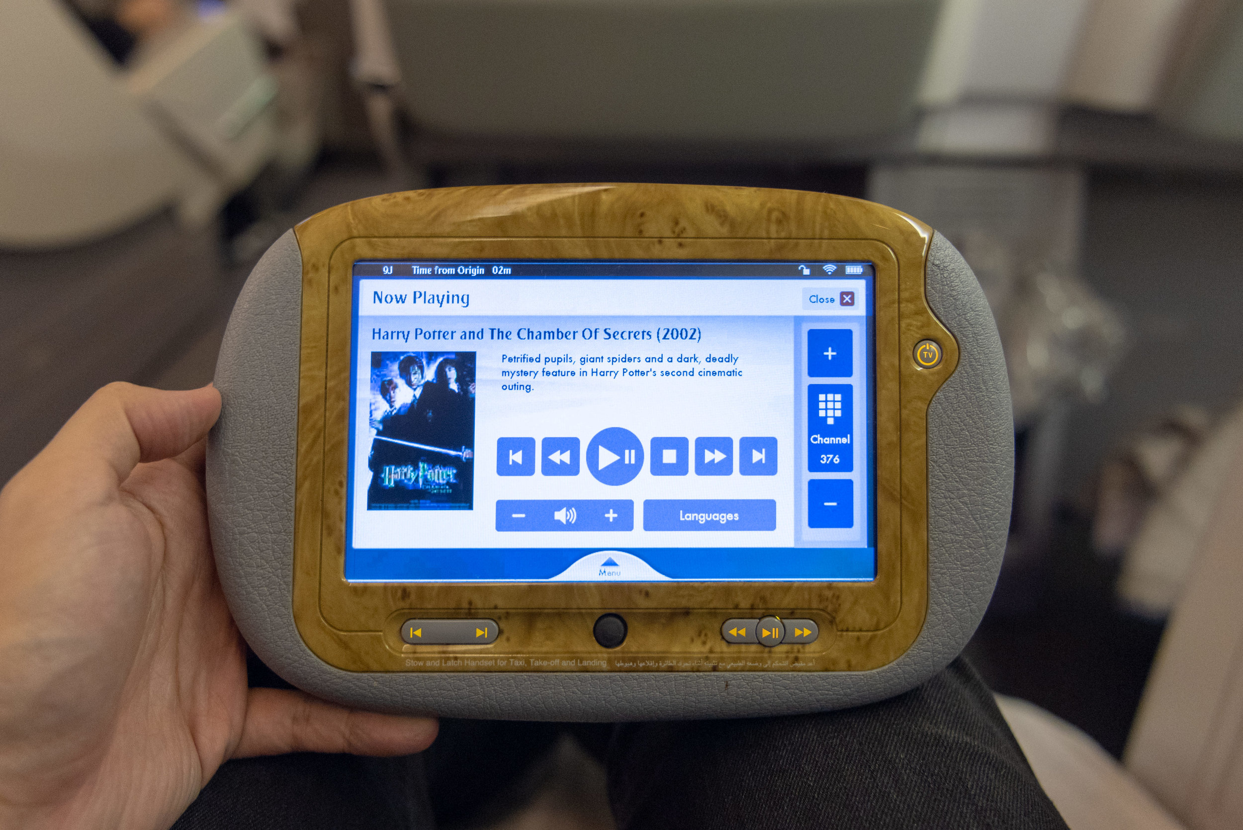 Personal Tablet  Emirates EK352 Business Class 777-300ER - DXB to SIN